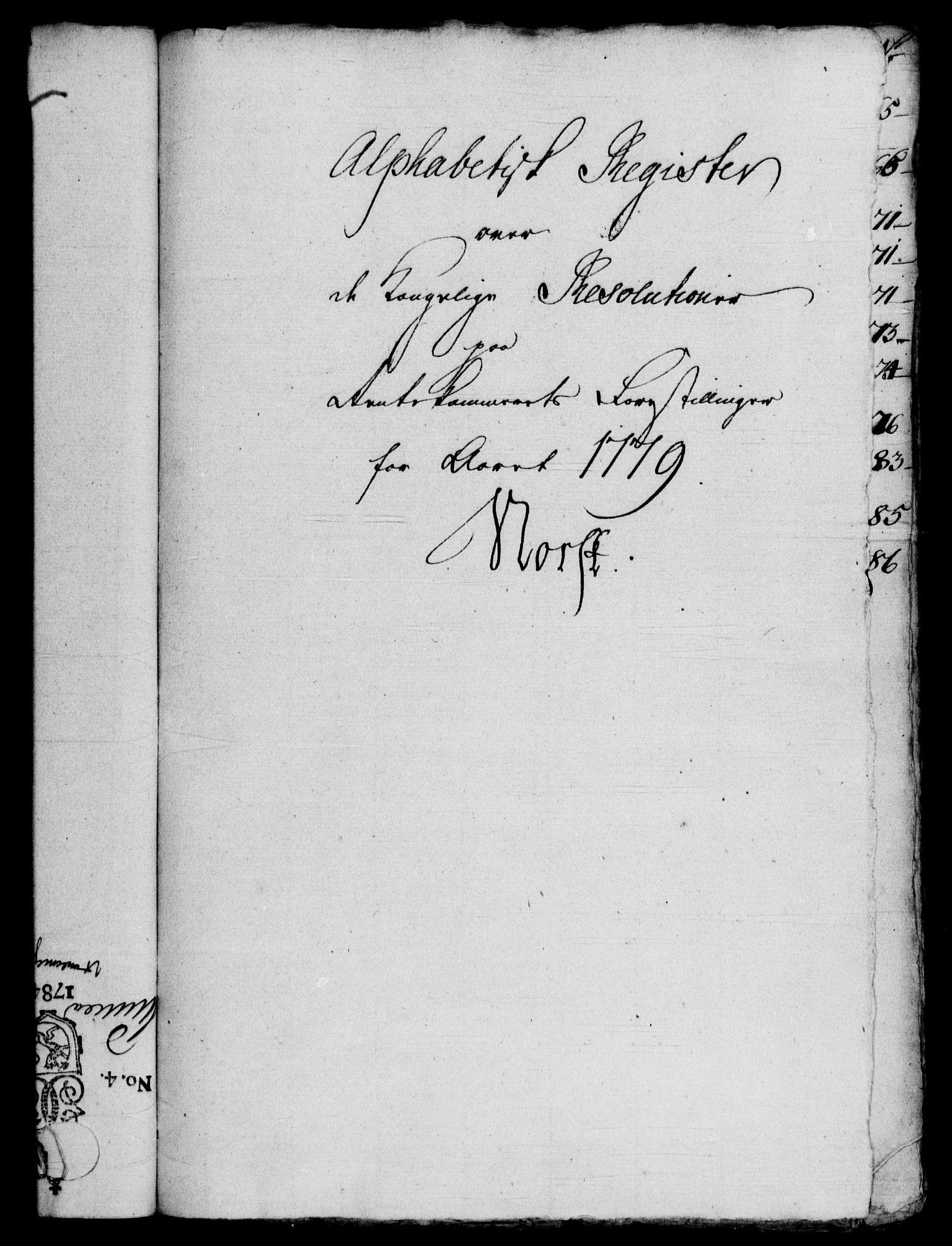 RA, Rentekammeret, Kammerkanselliet, G/Gf/Gfb/L0010: Register til norske relasjons- og resolusjonsprotokoller (merket RK 52.105), 1775-1780, s. 209