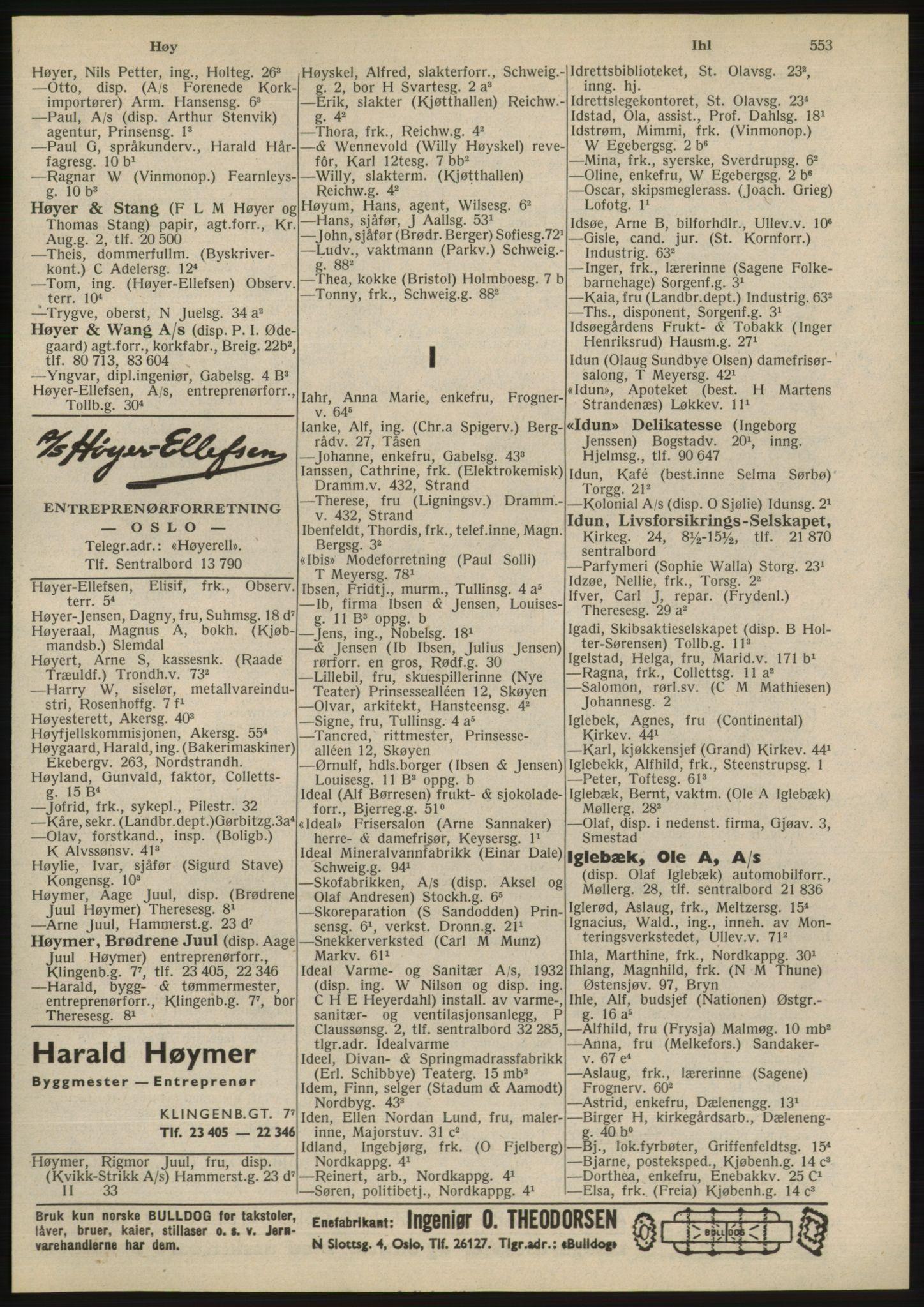 RA, Oslo adressebok (publikasjon)*, 1945, s. 553