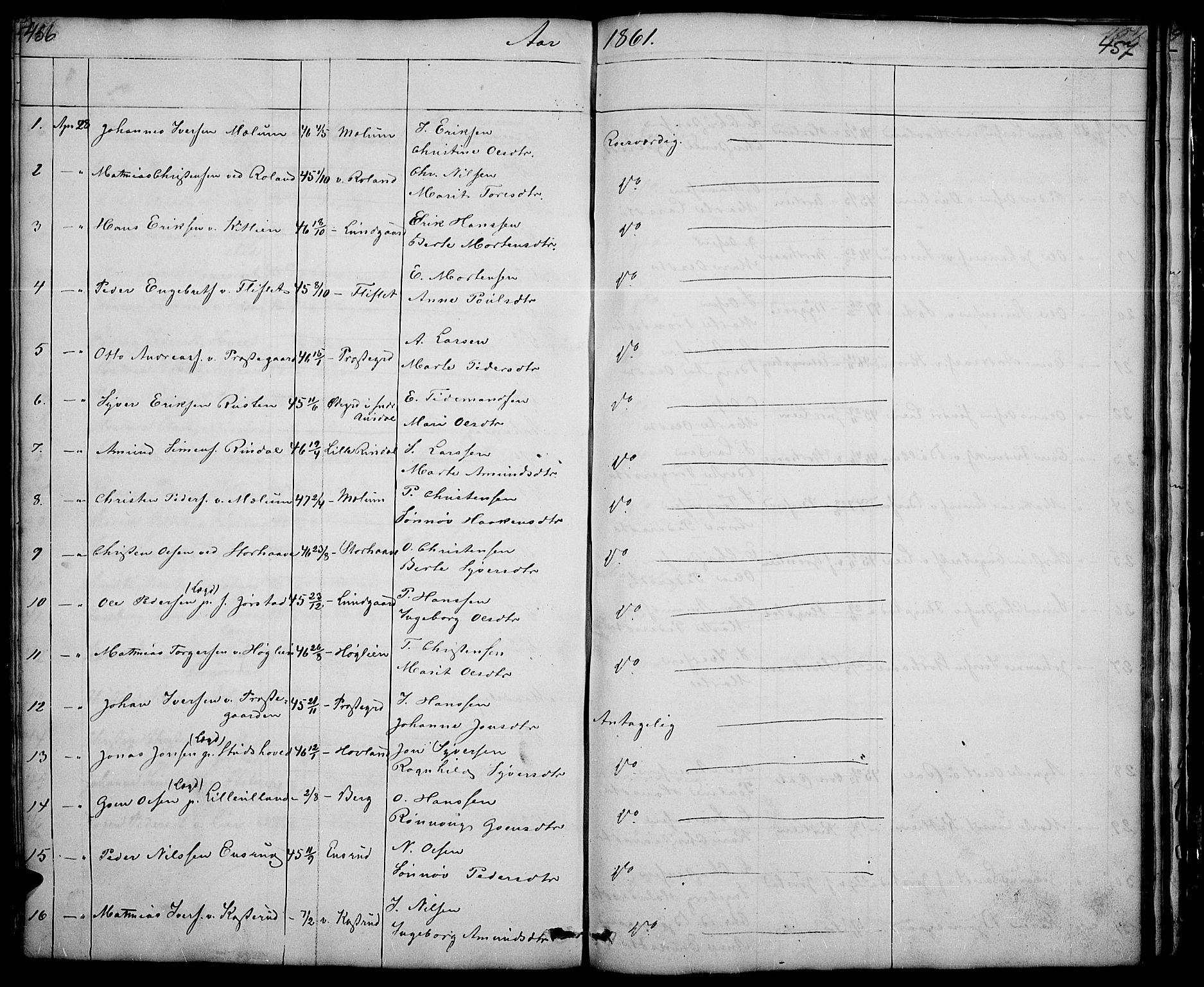 SAH, Fåberg prestekontor, Klokkerbok nr. 5, 1837-1864, s. 456-457