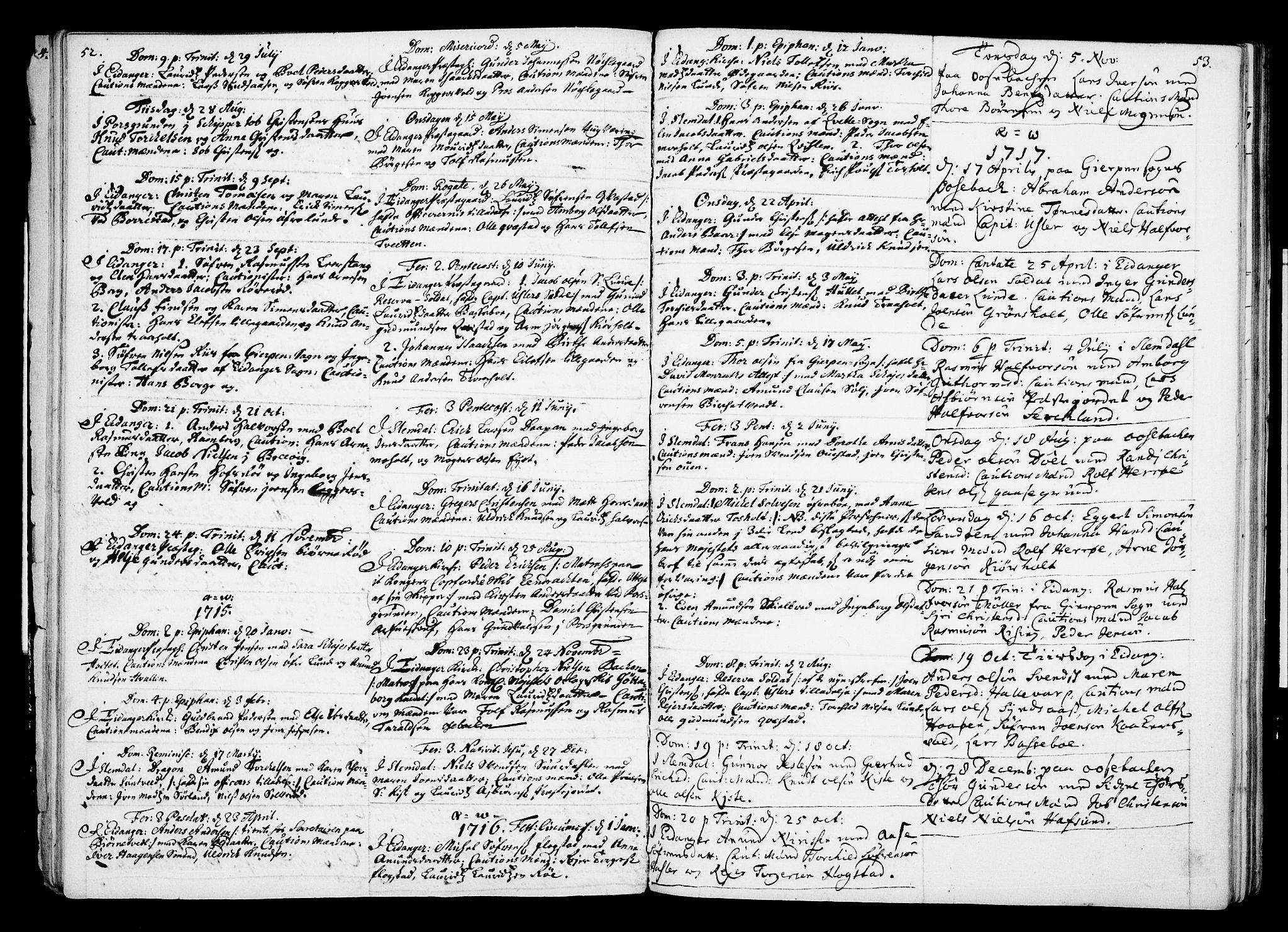 SAKO, Eidanger kirkebøker, F/Fa/L0002: Ministerialbok nr. 2, 1712-1720, s. 52-53