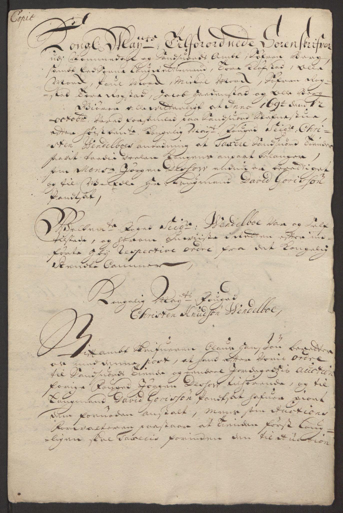 RA, Rentekammeret inntil 1814, Reviderte regnskaper, Fogderegnskap, R24/L1575: Fogderegnskap Numedal og Sandsvær, 1692-1695, s. 258