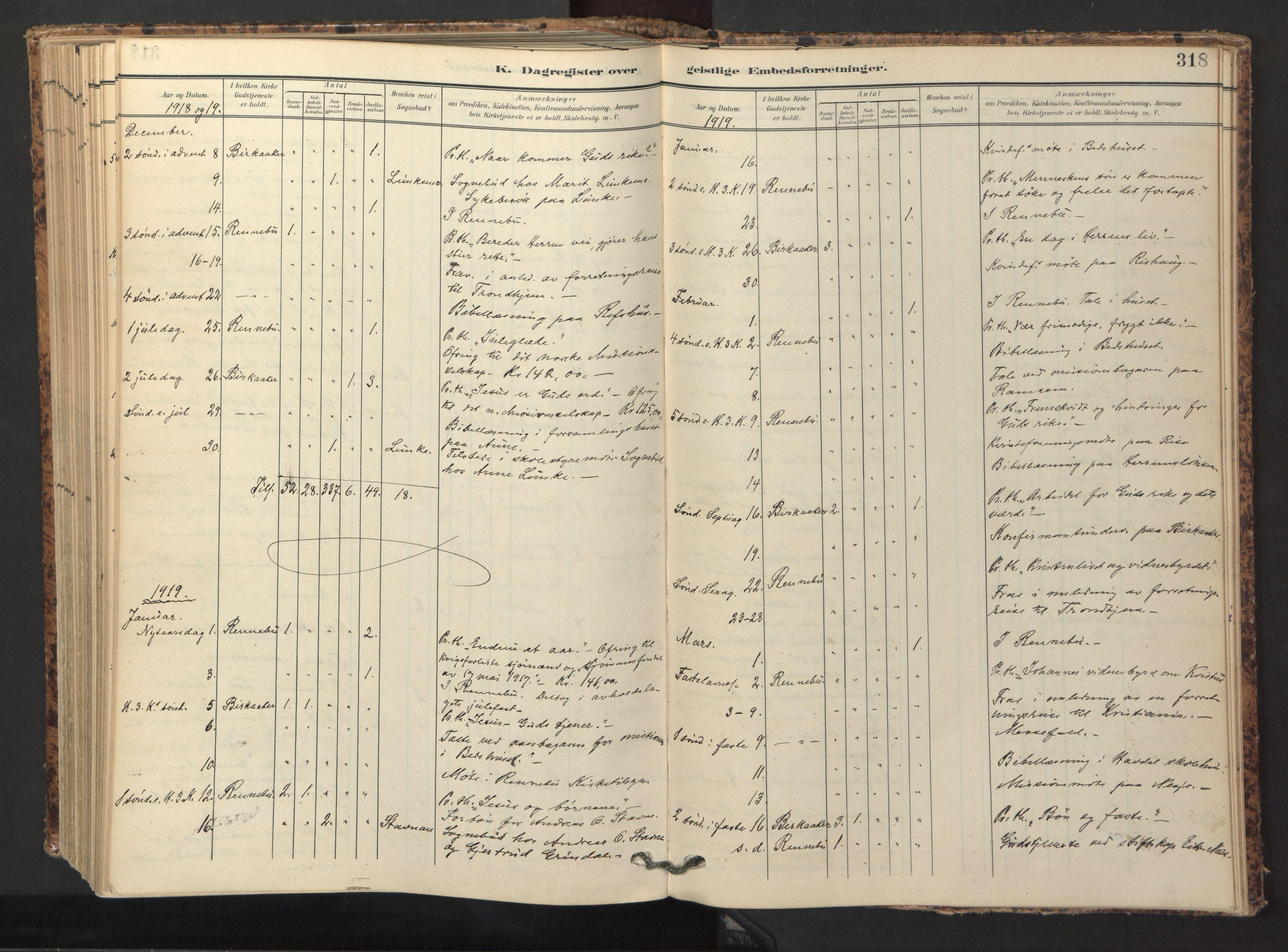 SAT, Ministerialprotokoller, klokkerbøker og fødselsregistre - Sør-Trøndelag, 674/L0873: Ministerialbok nr. 674A05, 1908-1923, s. 318