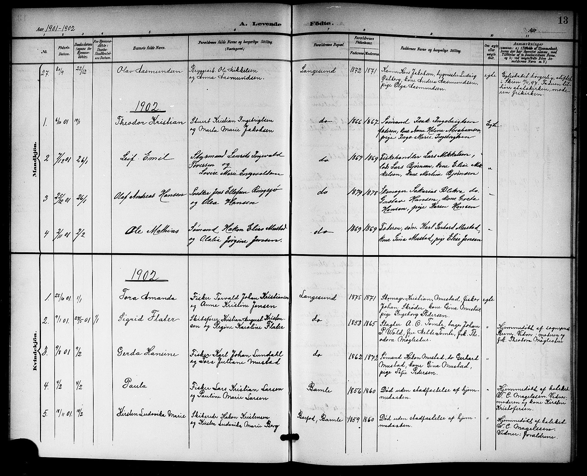 SAKO, Langesund kirkebøker, G/Ga/L0006: Klokkerbok nr. 6, 1899-1918, s. 13