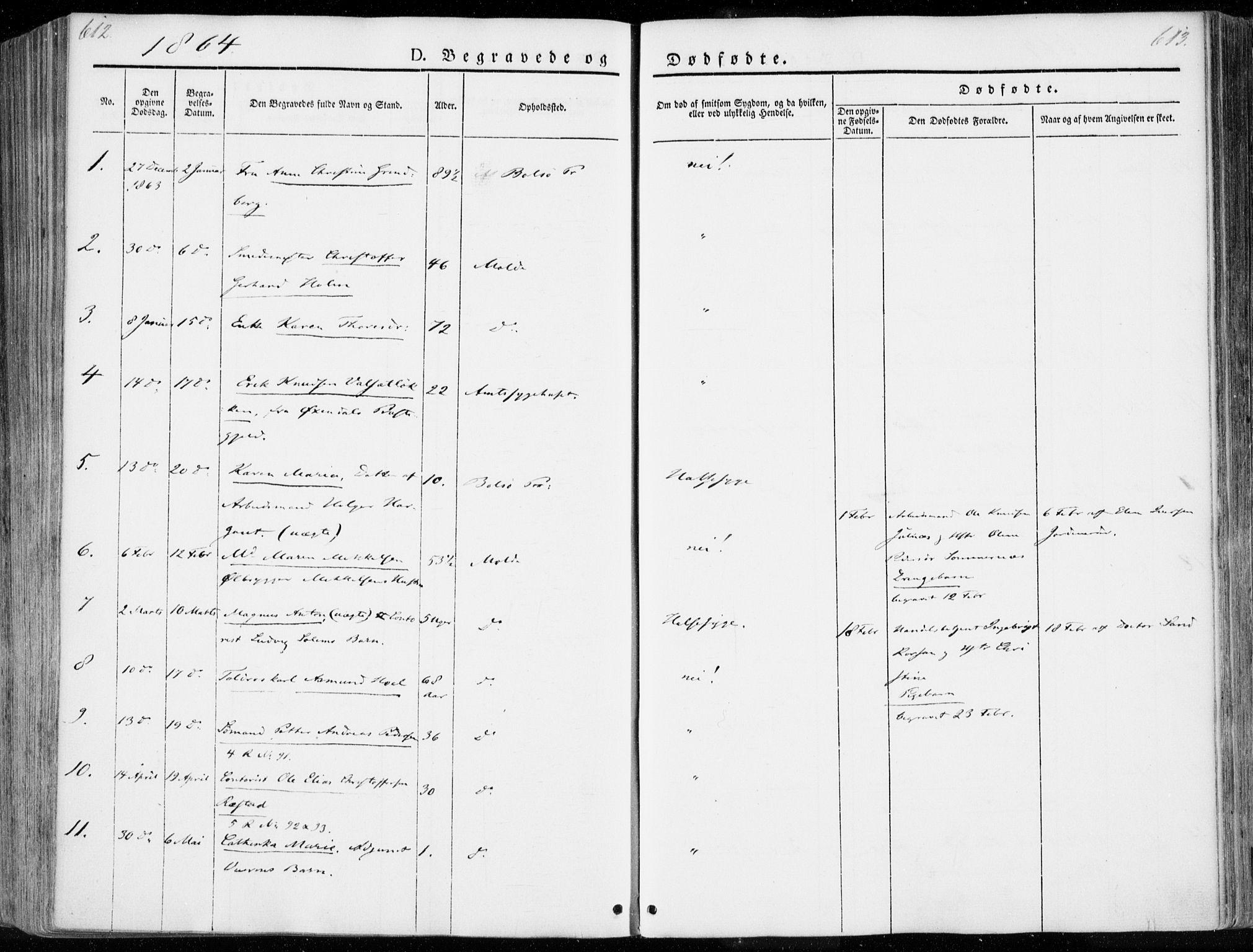 SAT, Ministerialprotokoller, klokkerbøker og fødselsregistre - Møre og Romsdal, 558/L0689: Ministerialbok nr. 558A03, 1843-1872, s. 612-613