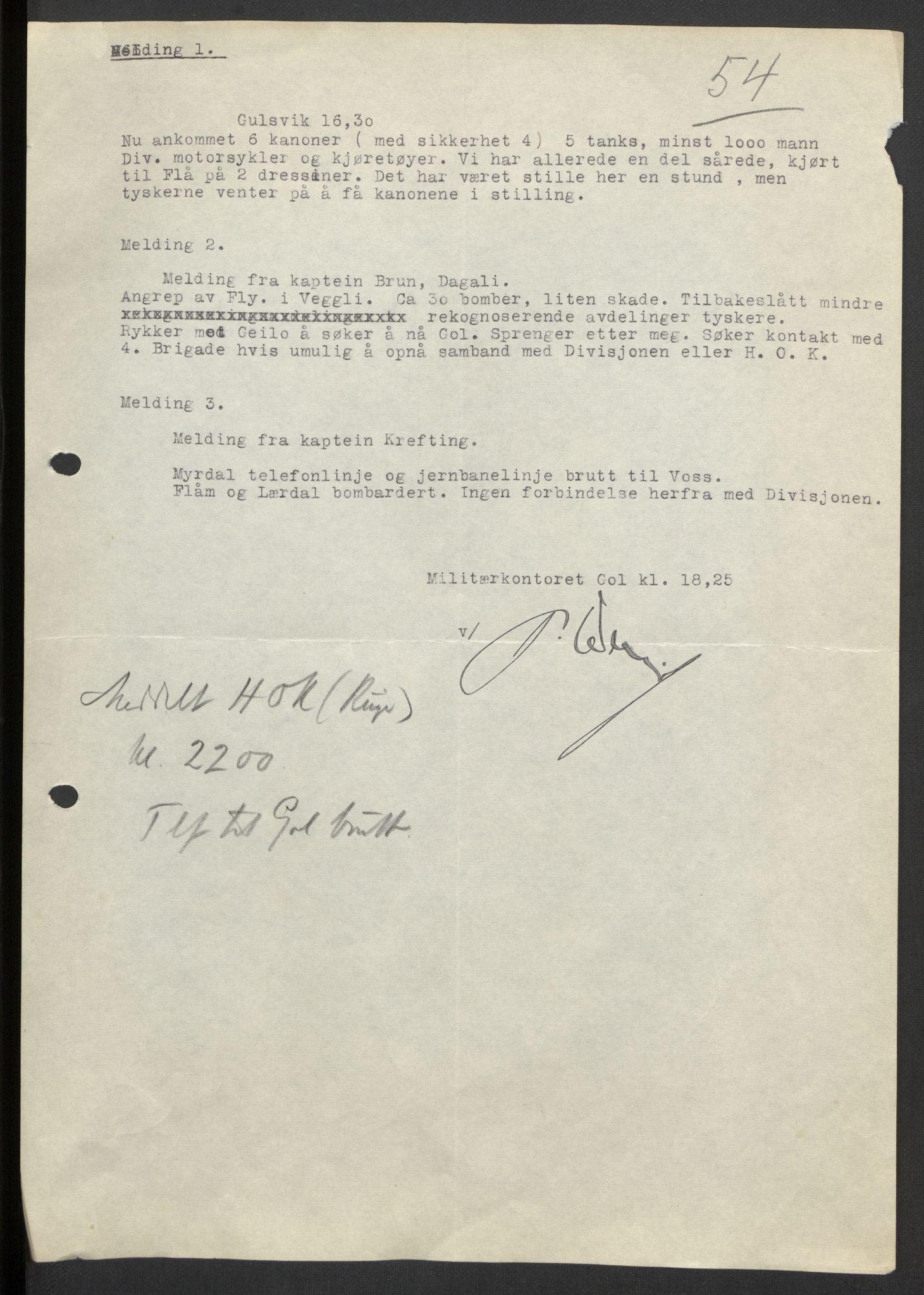 RA, Forsvaret, Forsvarets krigshistoriske avdeling, Y/Yb/L0104: II-C-11-430  -  4. Divisjon., 1940, s. 221