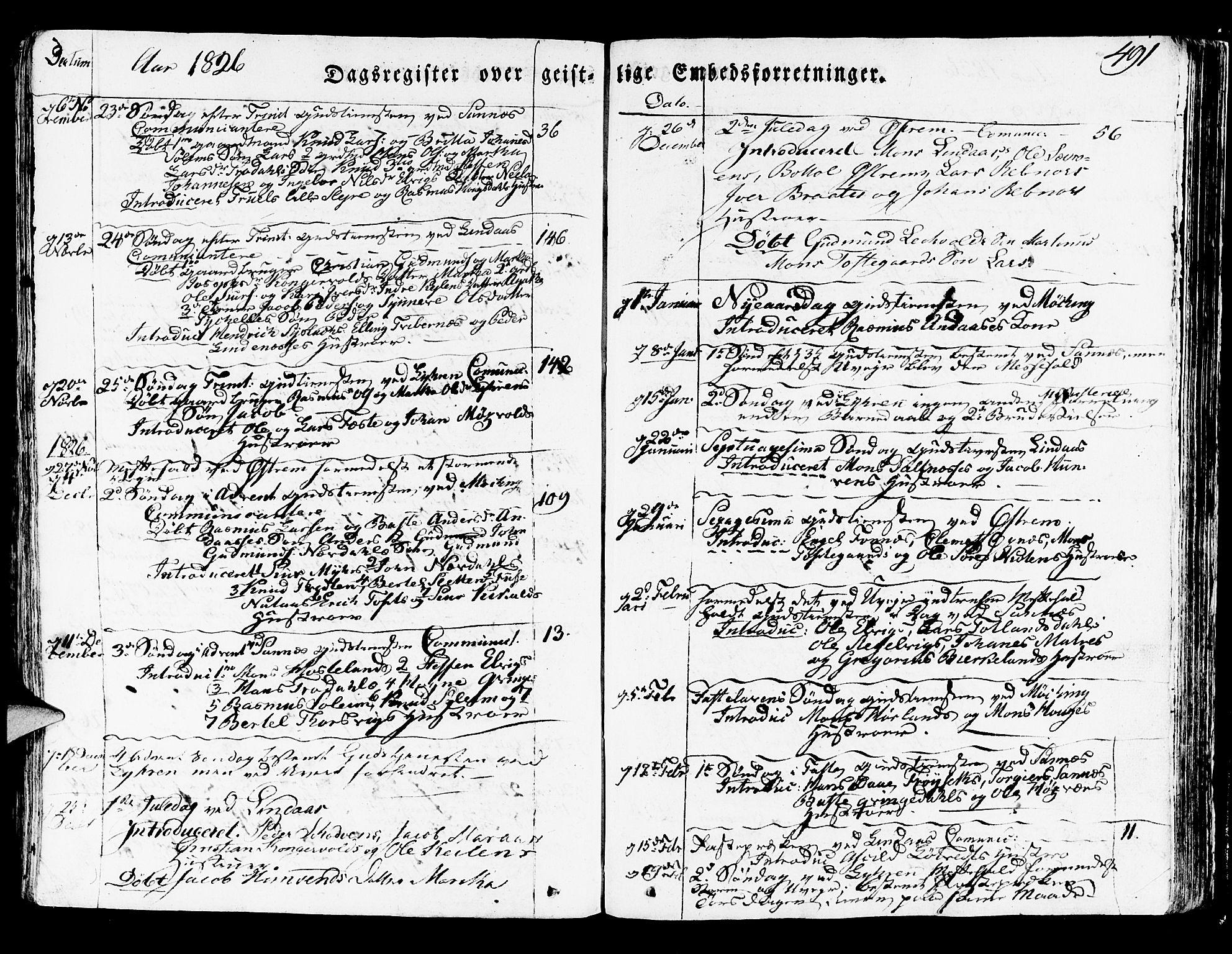 SAB, Lindås Sokneprestembete, H/Haa: Ministerialbok nr. A 8, 1823-1836, s. 491