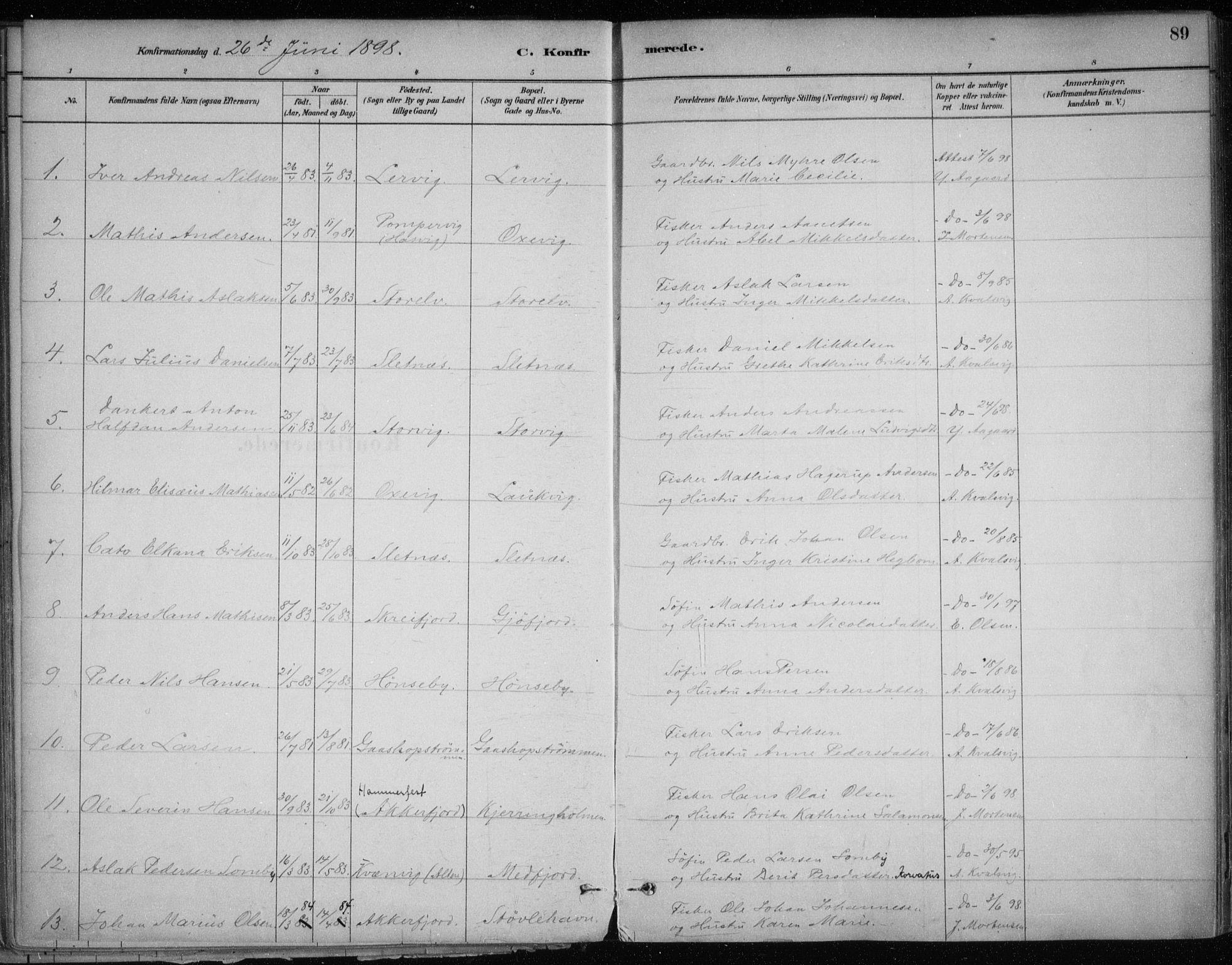 SATØ, Hammerfest sokneprestkontor, H/Ha/L0013.kirke: Ministerialbok nr. 13, 1898-1917, s. 89
