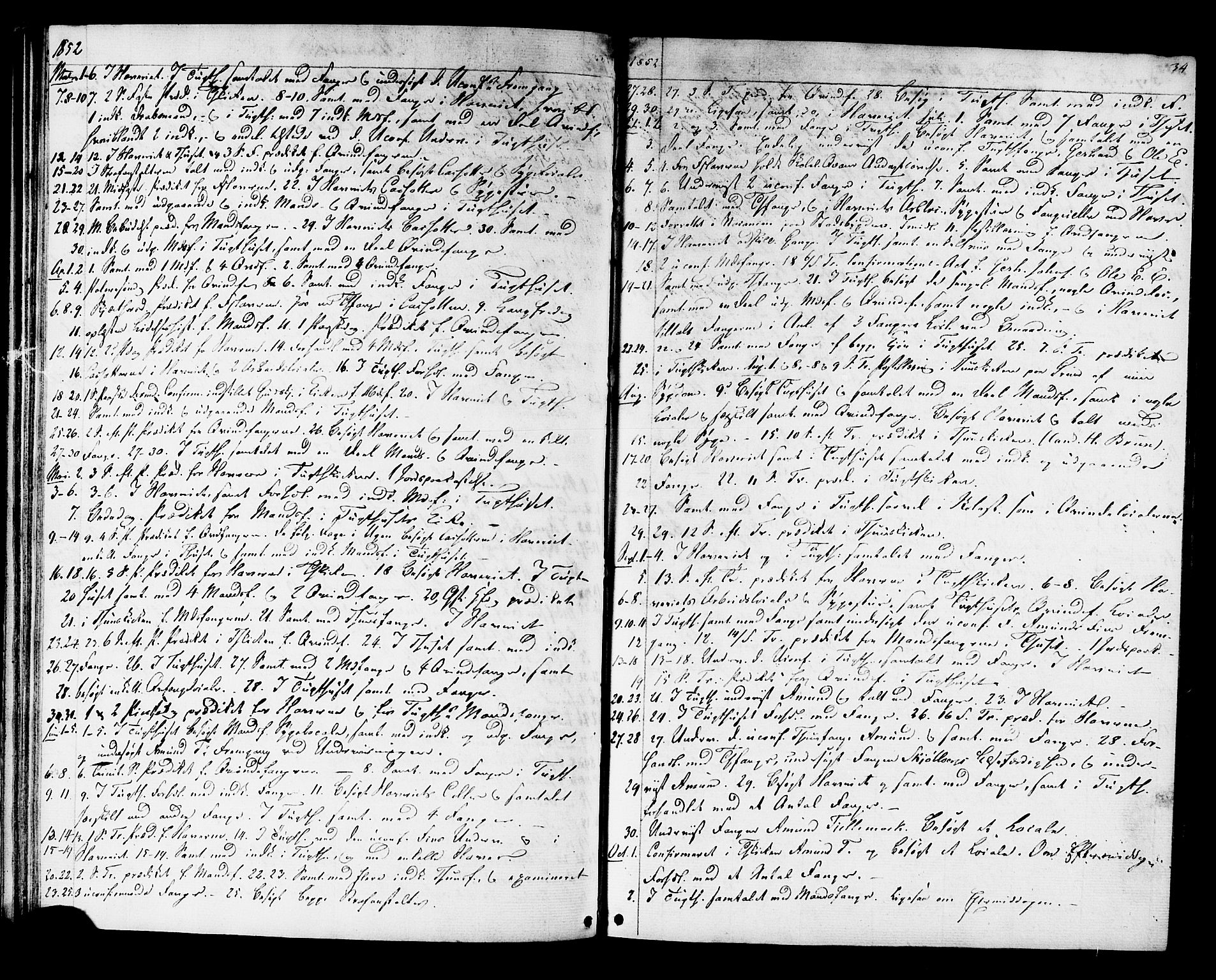 SAT, Ministerialprotokoller, klokkerbøker og fødselsregistre - Sør-Trøndelag, 624/L0481: Ministerialbok nr. 624A02, 1841-1869, s. 34