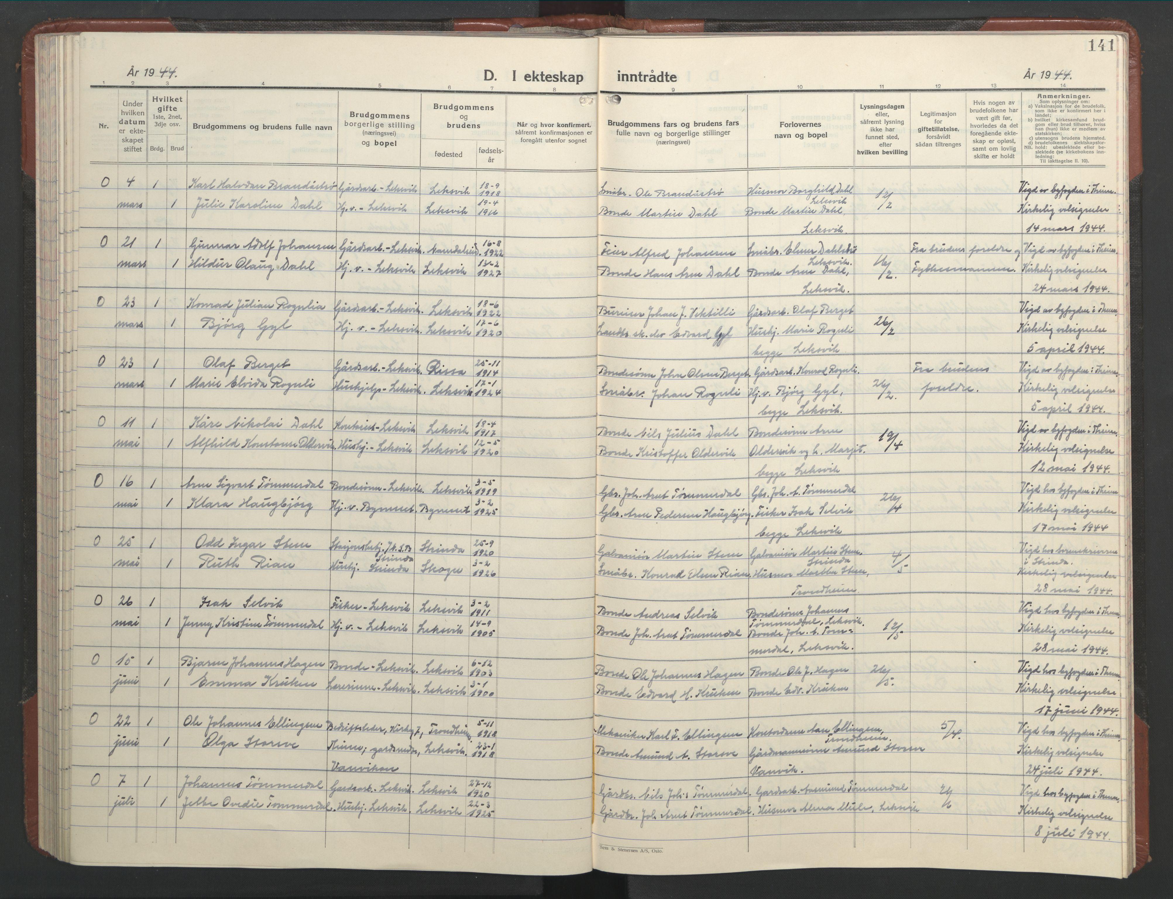 SAT, Ministerialprotokoller, klokkerbøker og fødselsregistre - Nord-Trøndelag, 701/L0019: Klokkerbok nr. 701C03, 1930-1953, s. 141