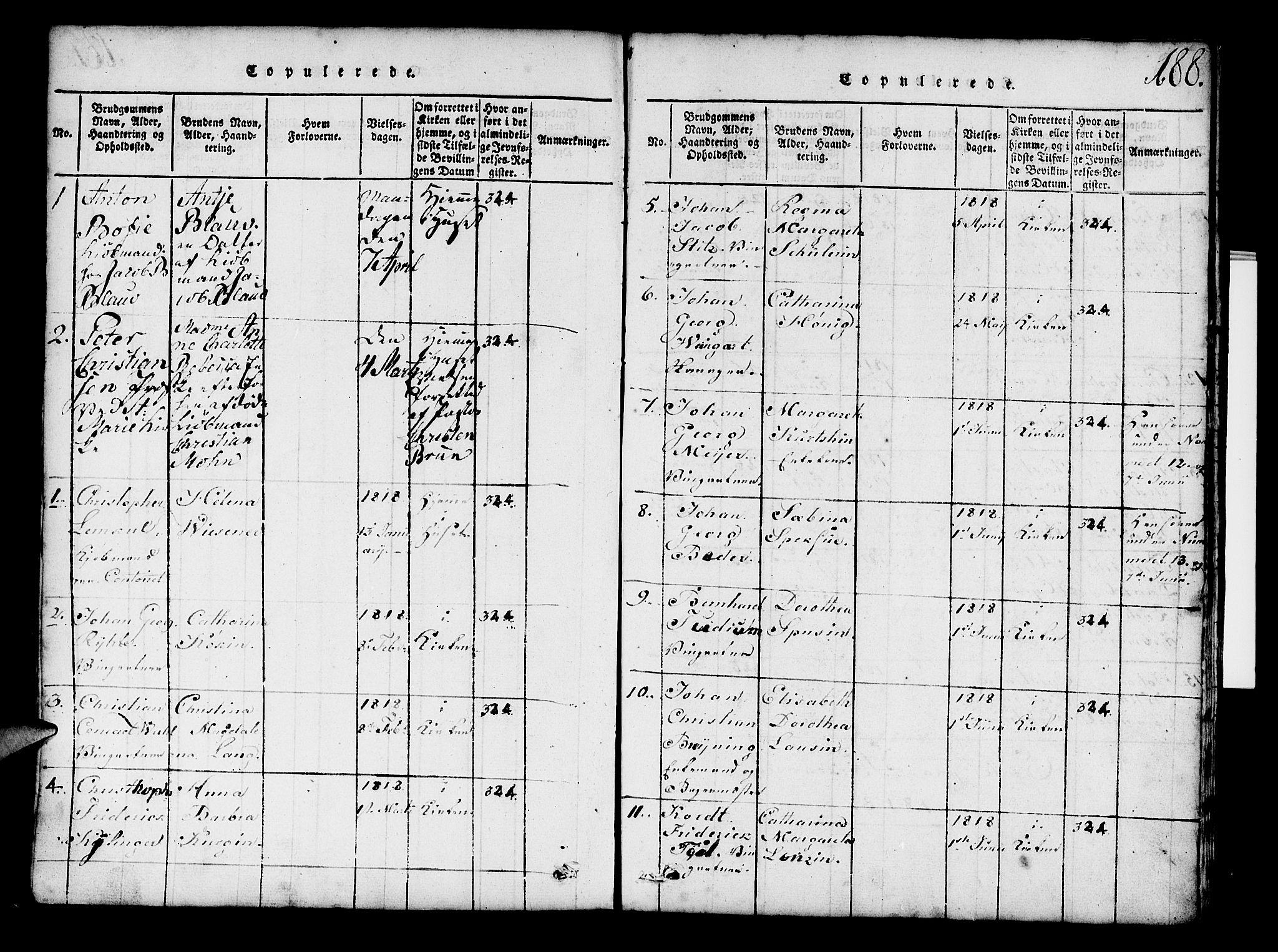 SAB, Mariakirken Sokneprestembete, H/Hab/L0001: Klokkerbok nr. A 1, 1815-1846, s. 188