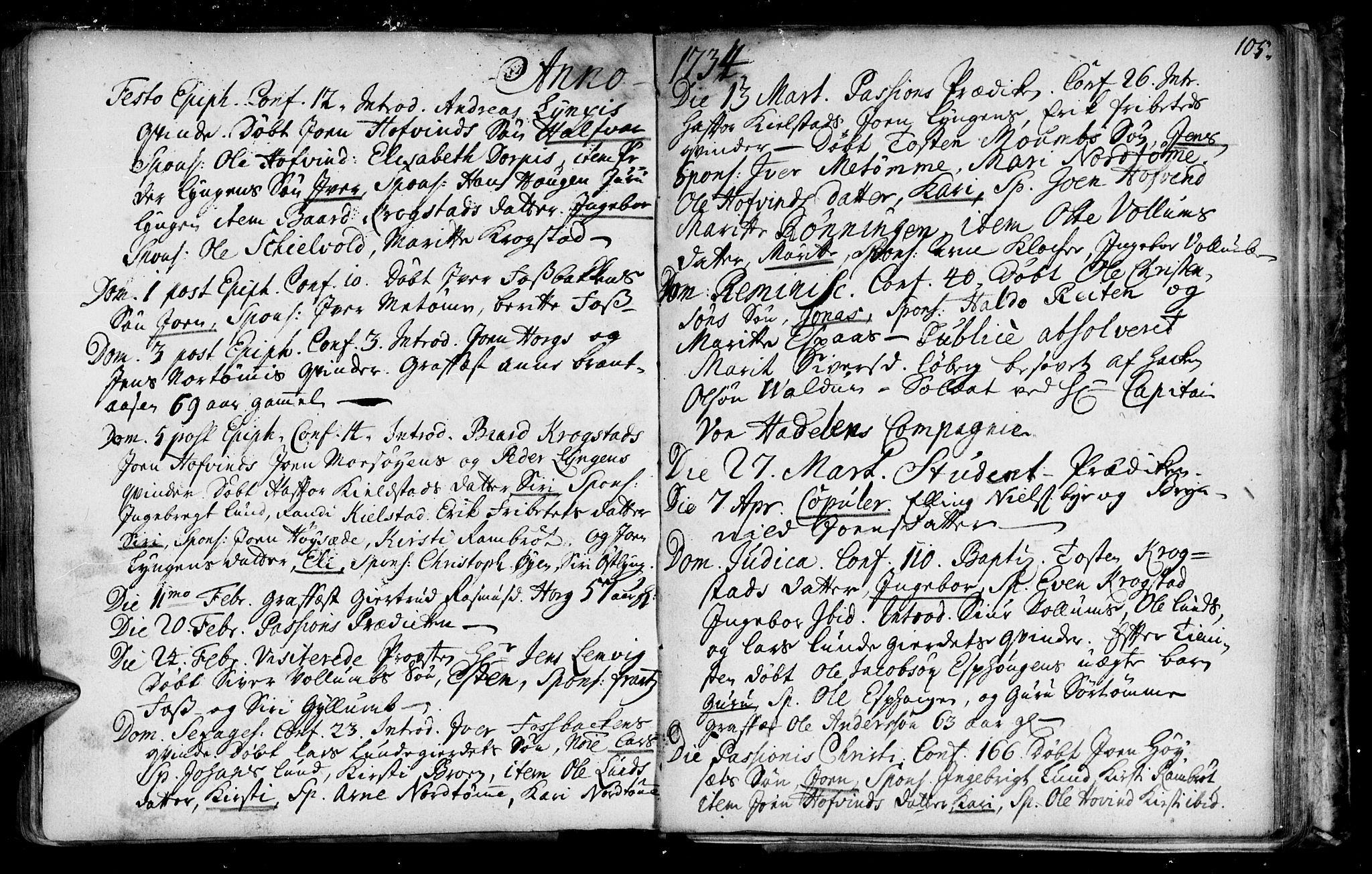 SAT, Ministerialprotokoller, klokkerbøker og fødselsregistre - Sør-Trøndelag, 692/L1101: Ministerialbok nr. 692A01, 1690-1746, s. 105