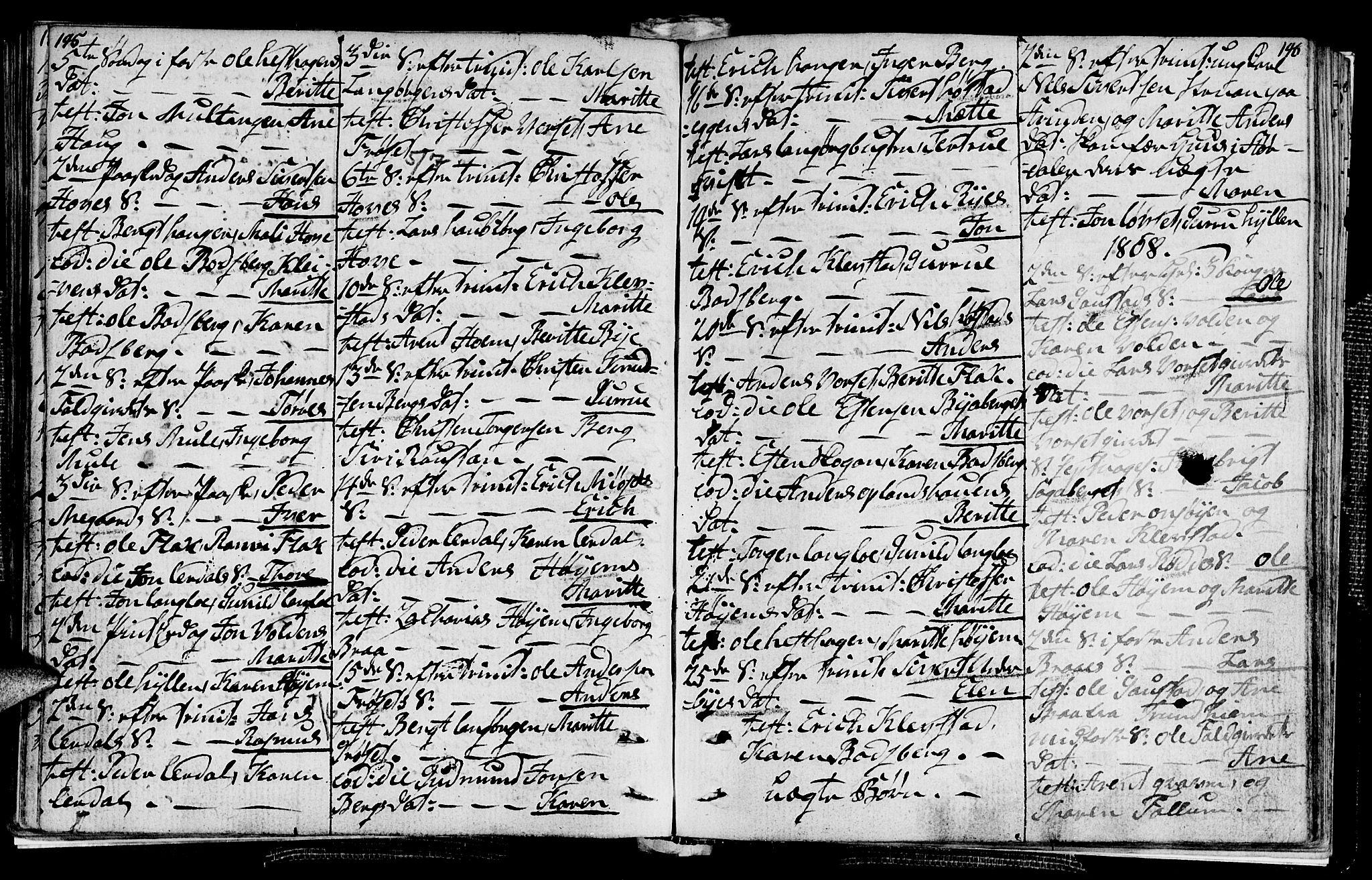 SAT, Ministerialprotokoller, klokkerbøker og fødselsregistre - Sør-Trøndelag, 612/L0371: Ministerialbok nr. 612A05, 1803-1816, s. 145-146