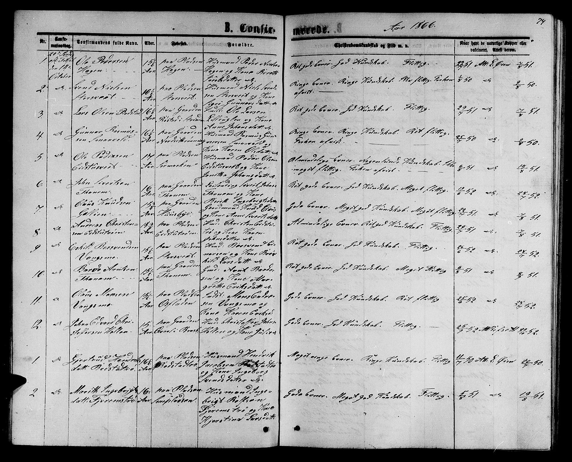 SAT, Ministerialprotokoller, klokkerbøker og fødselsregistre - Sør-Trøndelag, 618/L0451: Klokkerbok nr. 618C02, 1865-1883, s. 74
