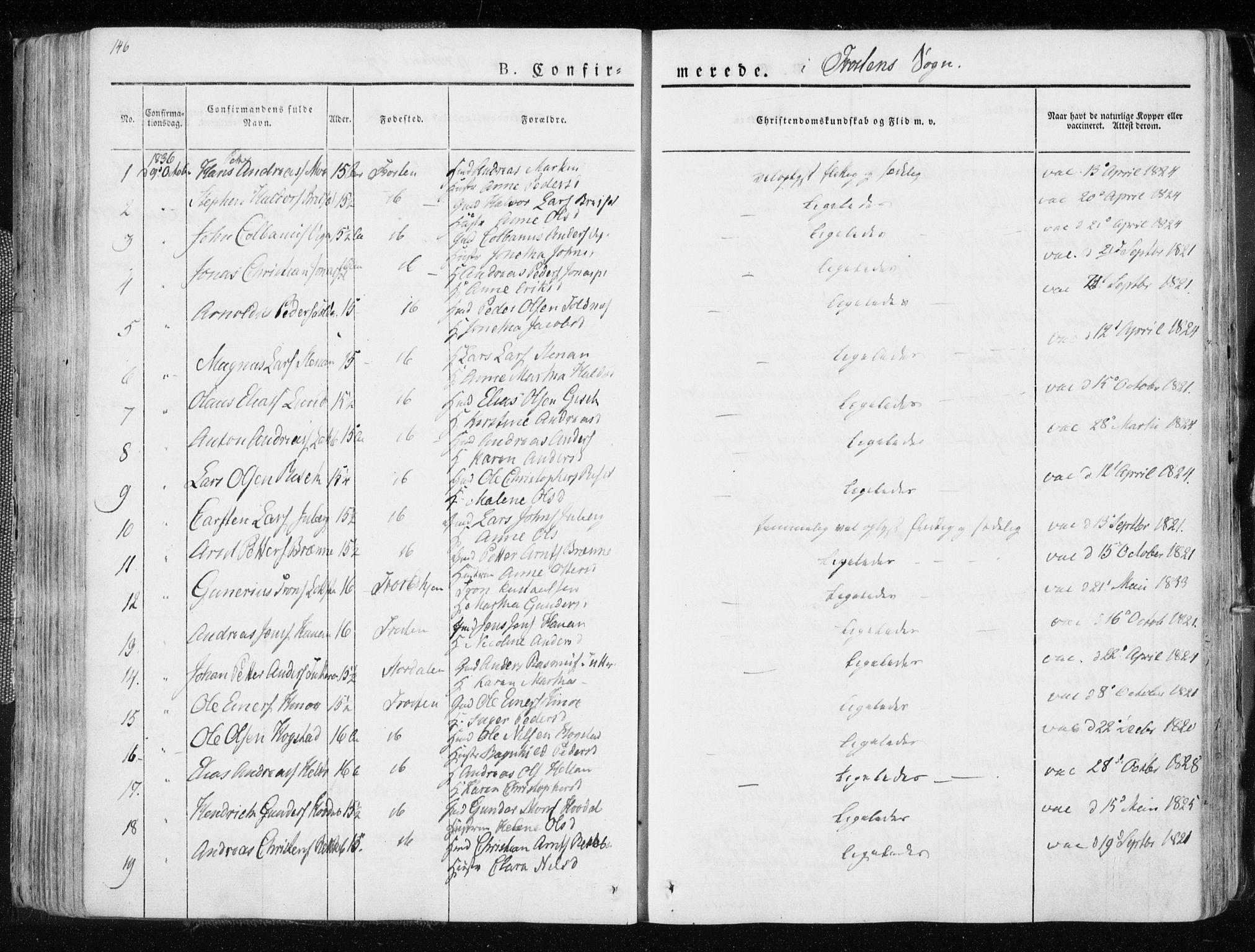 SAT, Ministerialprotokoller, klokkerbøker og fødselsregistre - Nord-Trøndelag, 713/L0114: Ministerialbok nr. 713A05, 1827-1839, s. 146