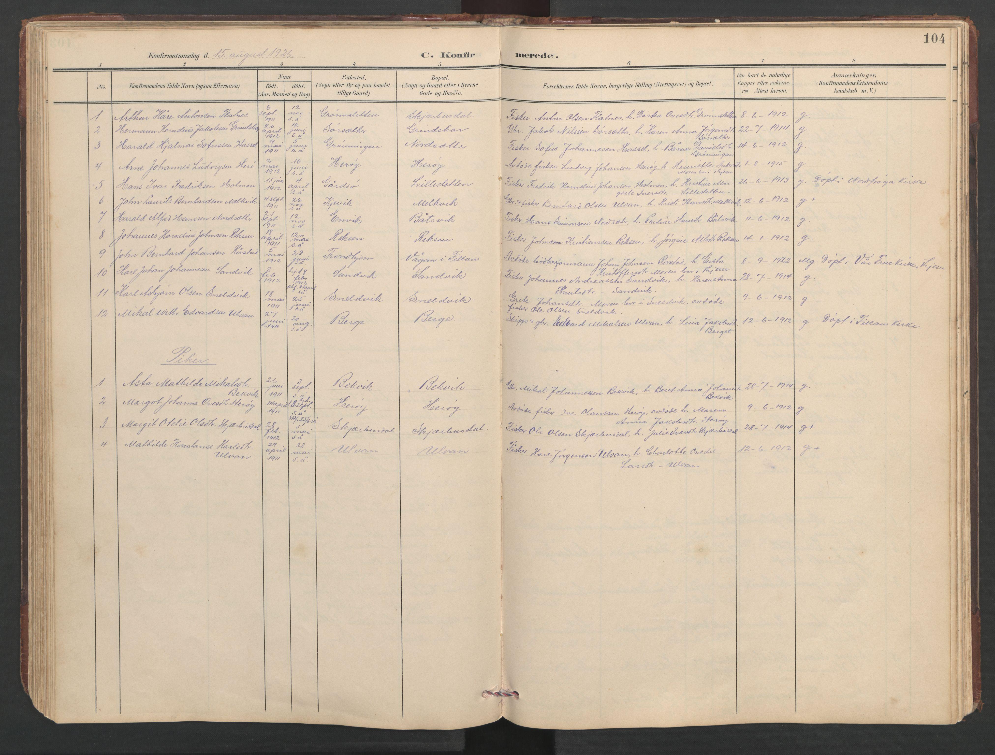 SAT, Ministerialprotokoller, klokkerbøker og fødselsregistre - Sør-Trøndelag, 638/L0571: Klokkerbok nr. 638C03, 1901-1930, s. 104