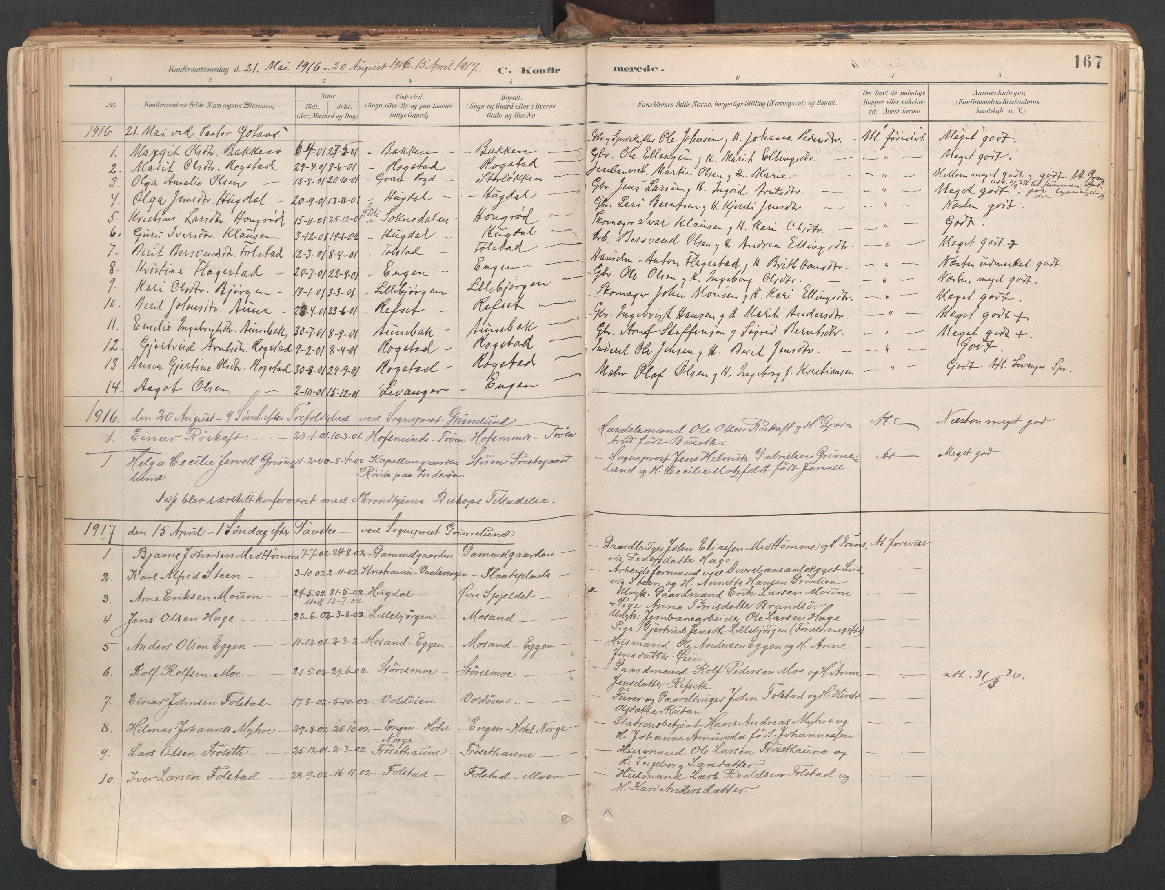 SAT, Ministerialprotokoller, klokkerbøker og fødselsregistre - Sør-Trøndelag, 687/L1004: Ministerialbok nr. 687A10, 1891-1923, s. 167