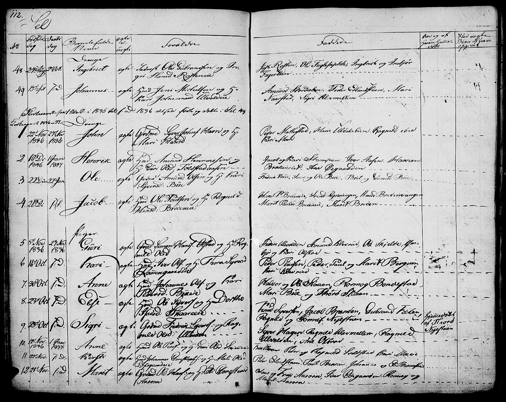 SAH, Vågå prestekontor, Ministerialbok nr. 4 /3, 1834-1842, s. 112