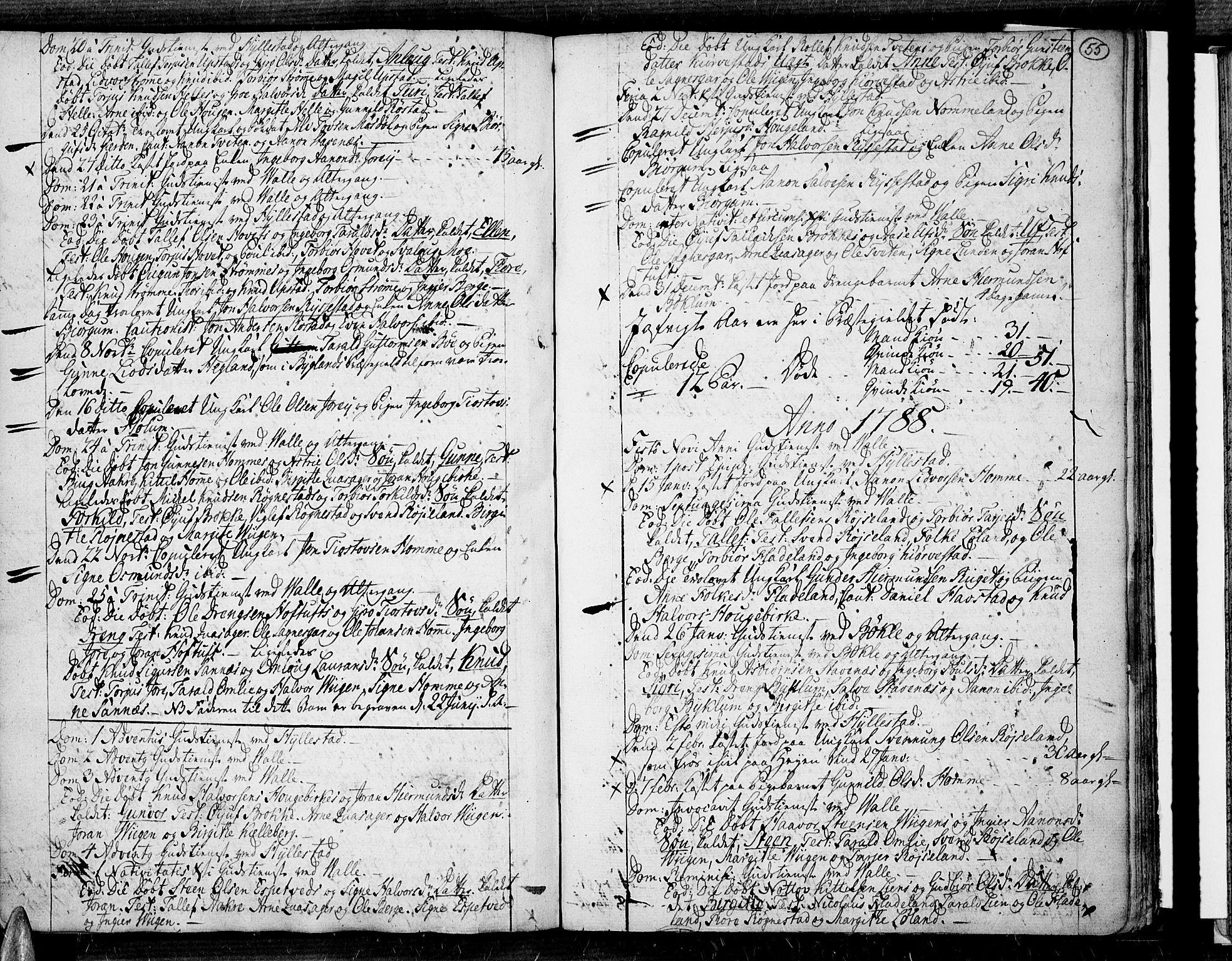 SAK, Valle sokneprestkontor, F/Fa/Fac/L0003: Ministerialbok nr. A 3, 1776-1790, s. 55