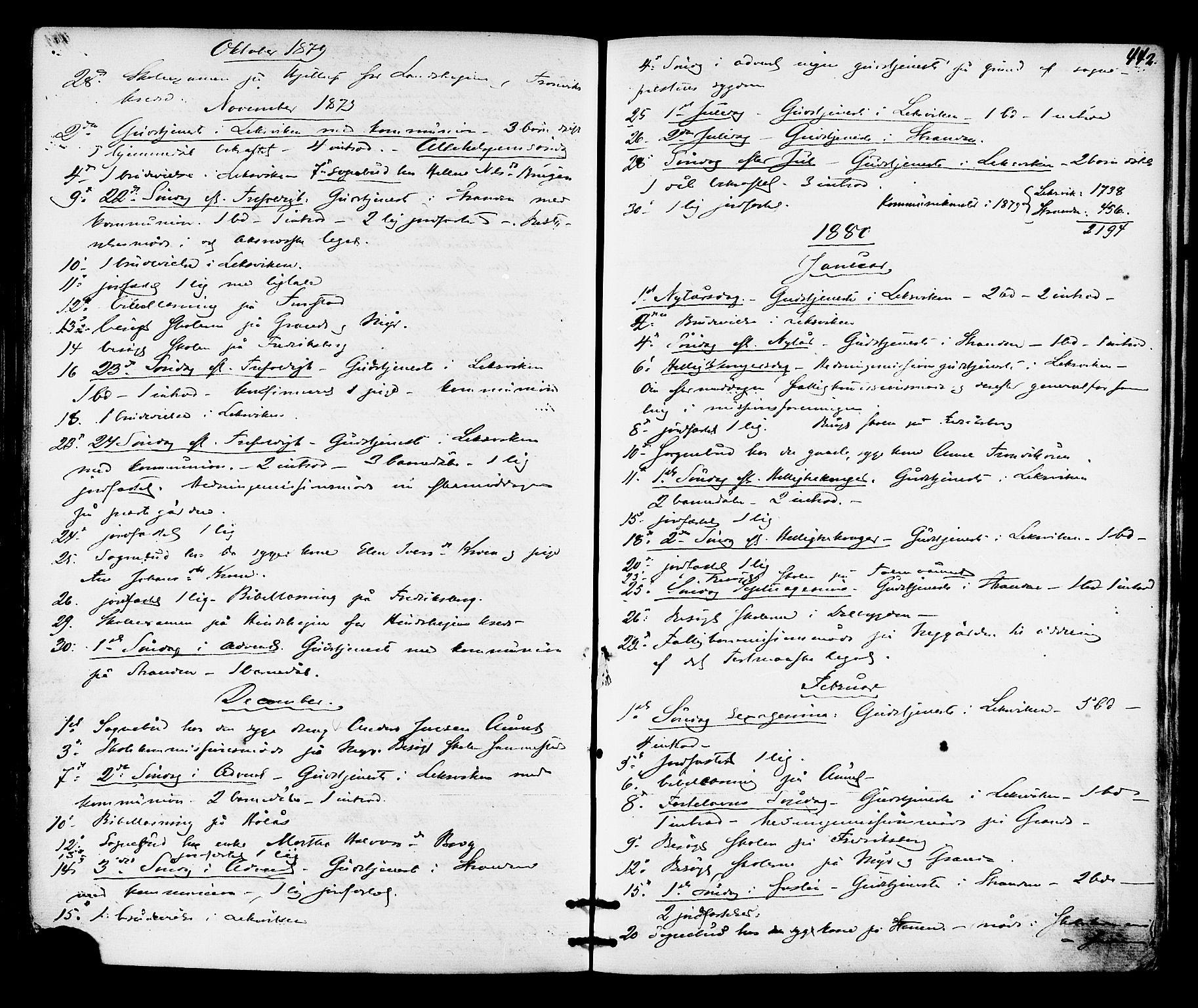 SAT, Ministerialprotokoller, klokkerbøker og fødselsregistre - Nord-Trøndelag, 701/L0009: Ministerialbok nr. 701A09 /1, 1864-1882, s. 442