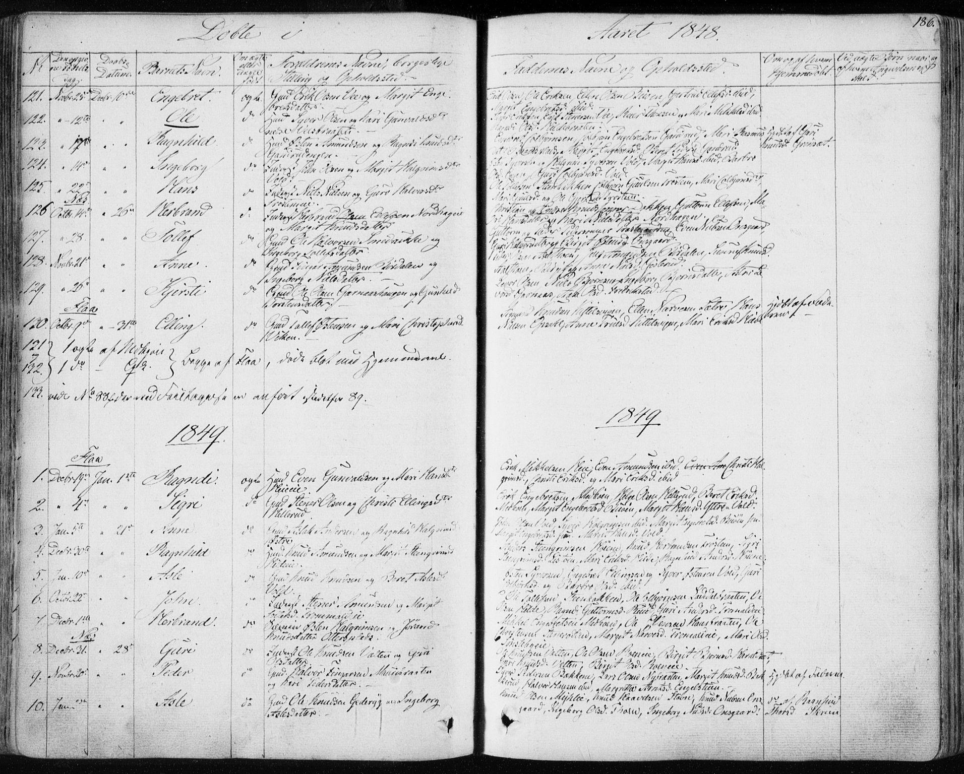 SAKO, Nes kirkebøker, F/Fa/L0009: Ministerialbok nr. 9, 1834-1863, s. 186