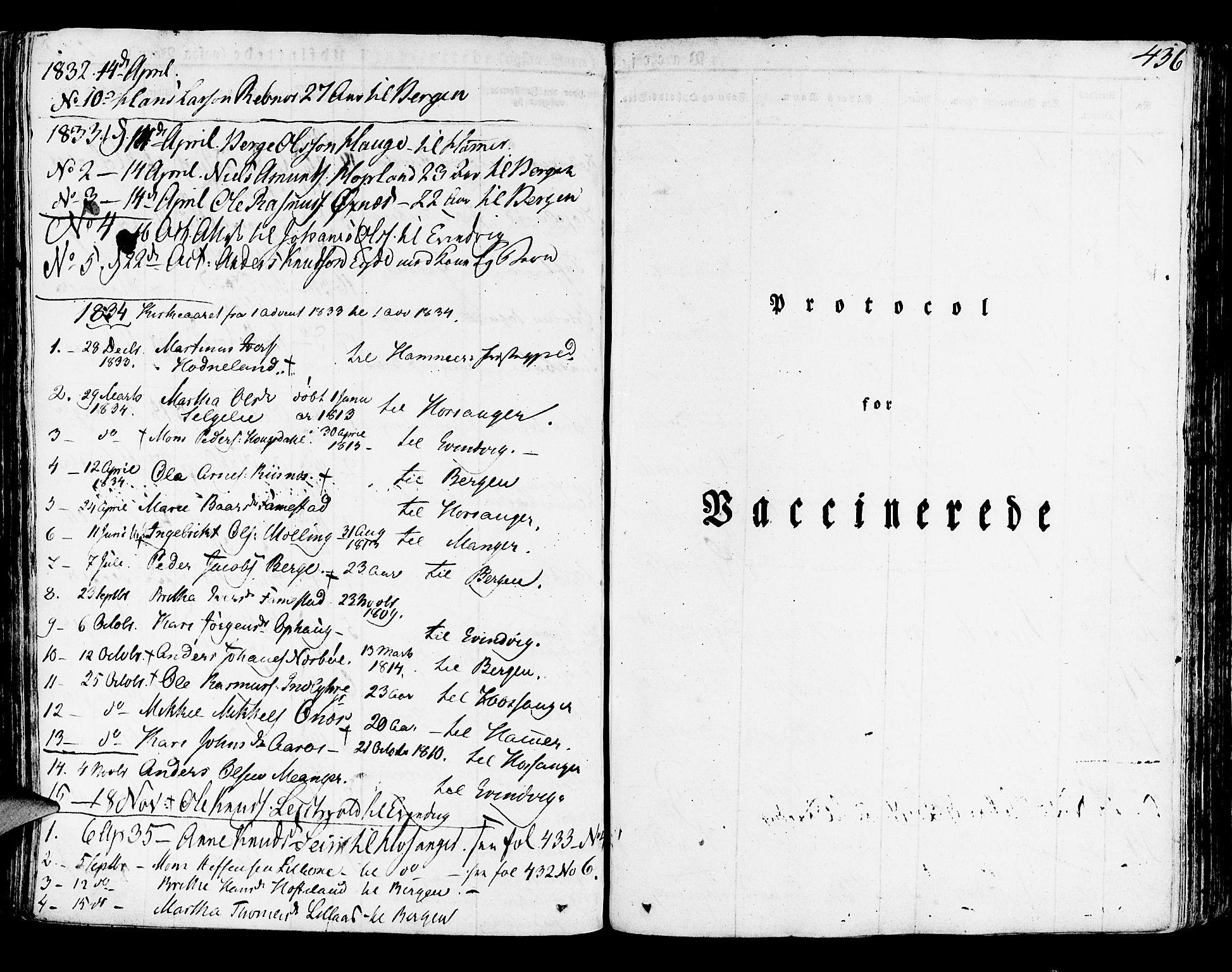 SAB, Lindås Sokneprestembete, H/Haa: Ministerialbok nr. A 8, 1823-1836, s. 436