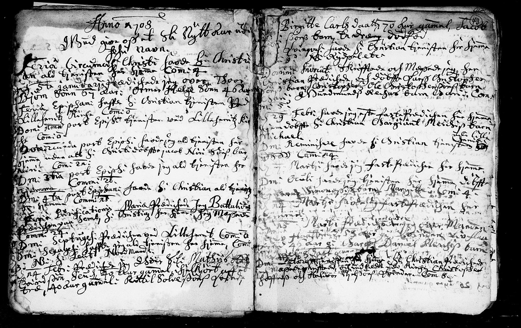 SAKO, Heddal kirkebøker, F/Fa/L0002: Ministerialbok nr. I 2, 1699-1722, s. 43