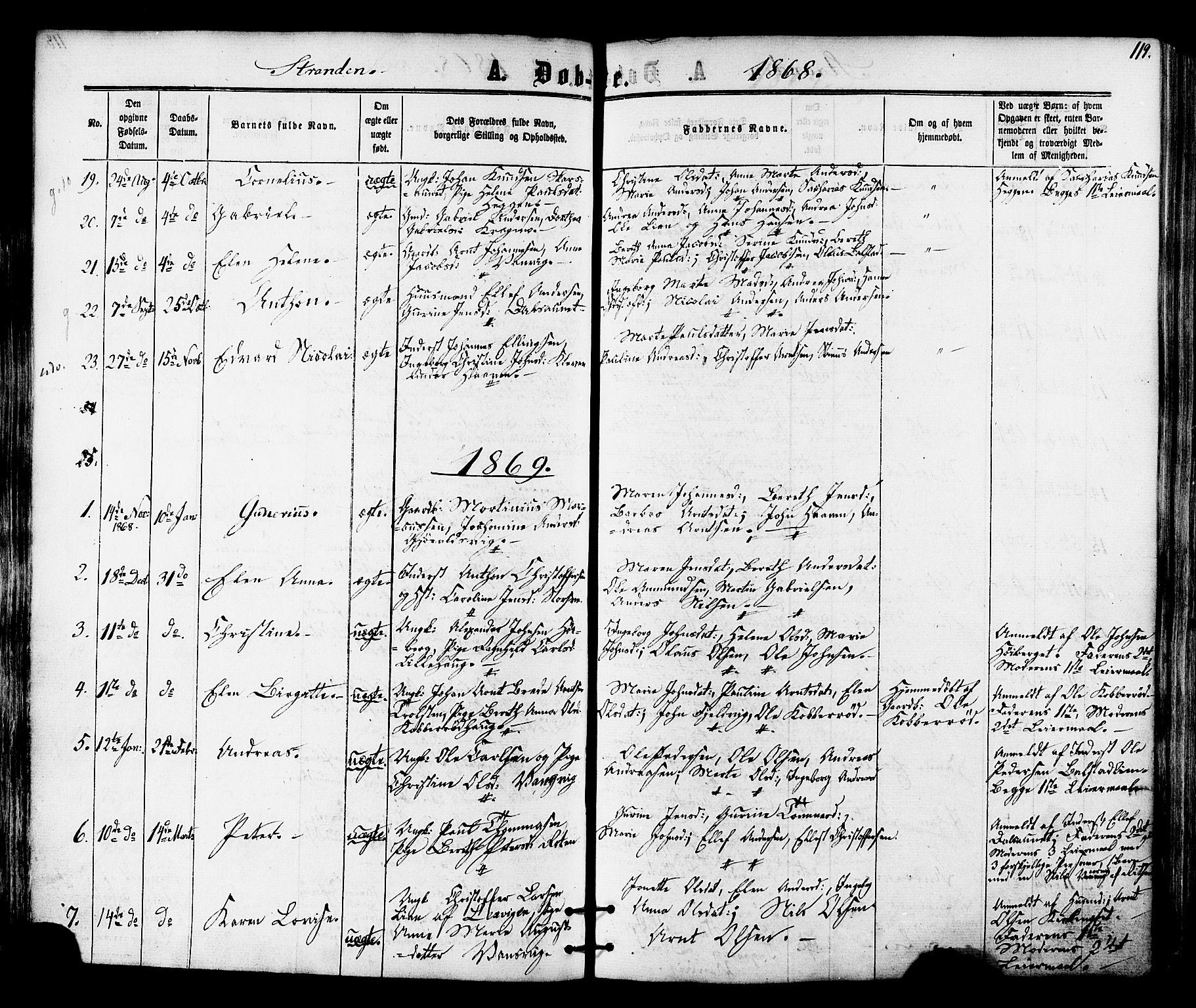 SAT, Ministerialprotokoller, klokkerbøker og fødselsregistre - Nord-Trøndelag, 701/L0009: Ministerialbok nr. 701A09 /2, 1864-1882, s. 119