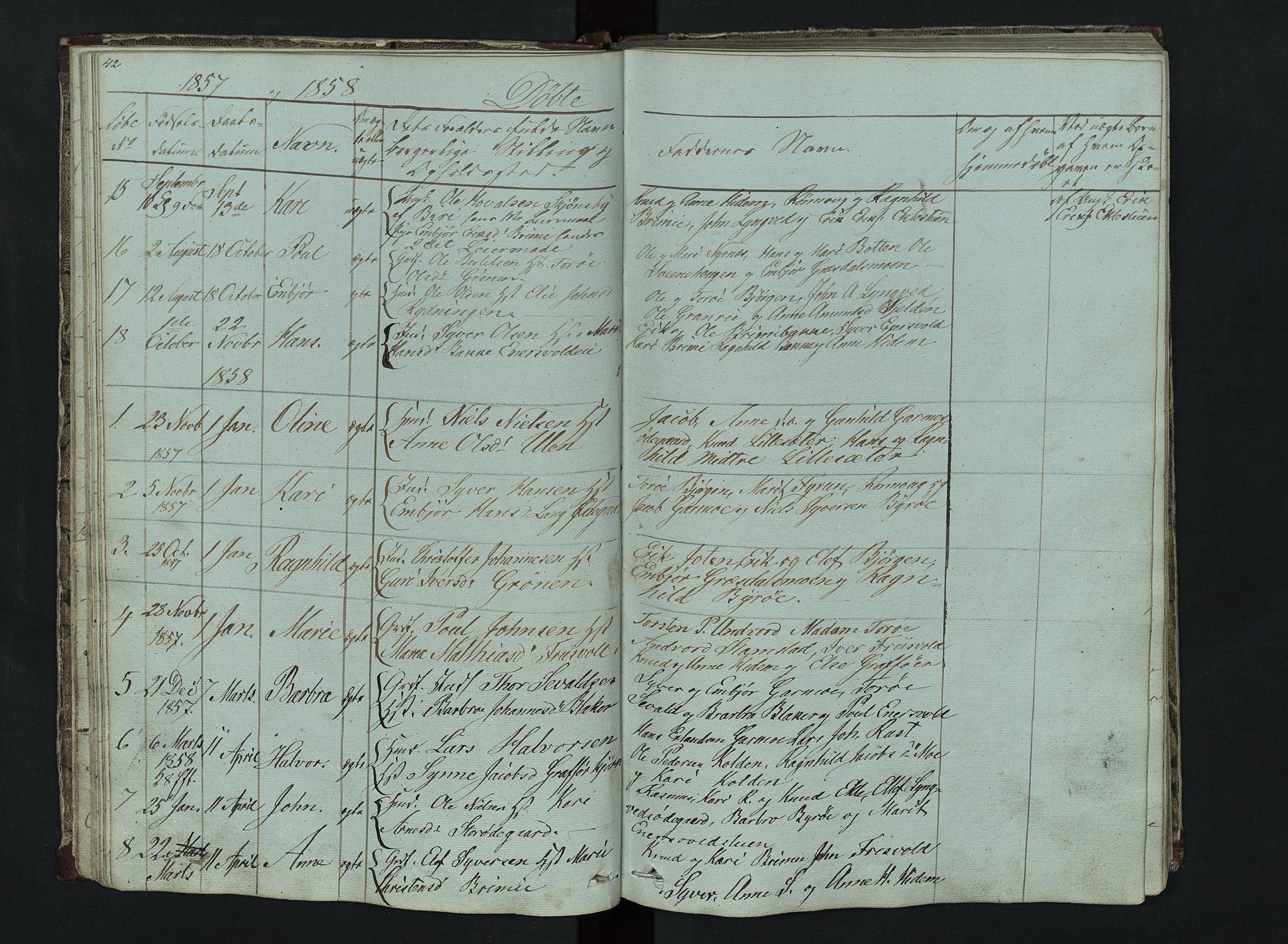 SAH, Lom prestekontor, L/L0014: Klokkerbok nr. 14, 1845-1876, s. 42-43