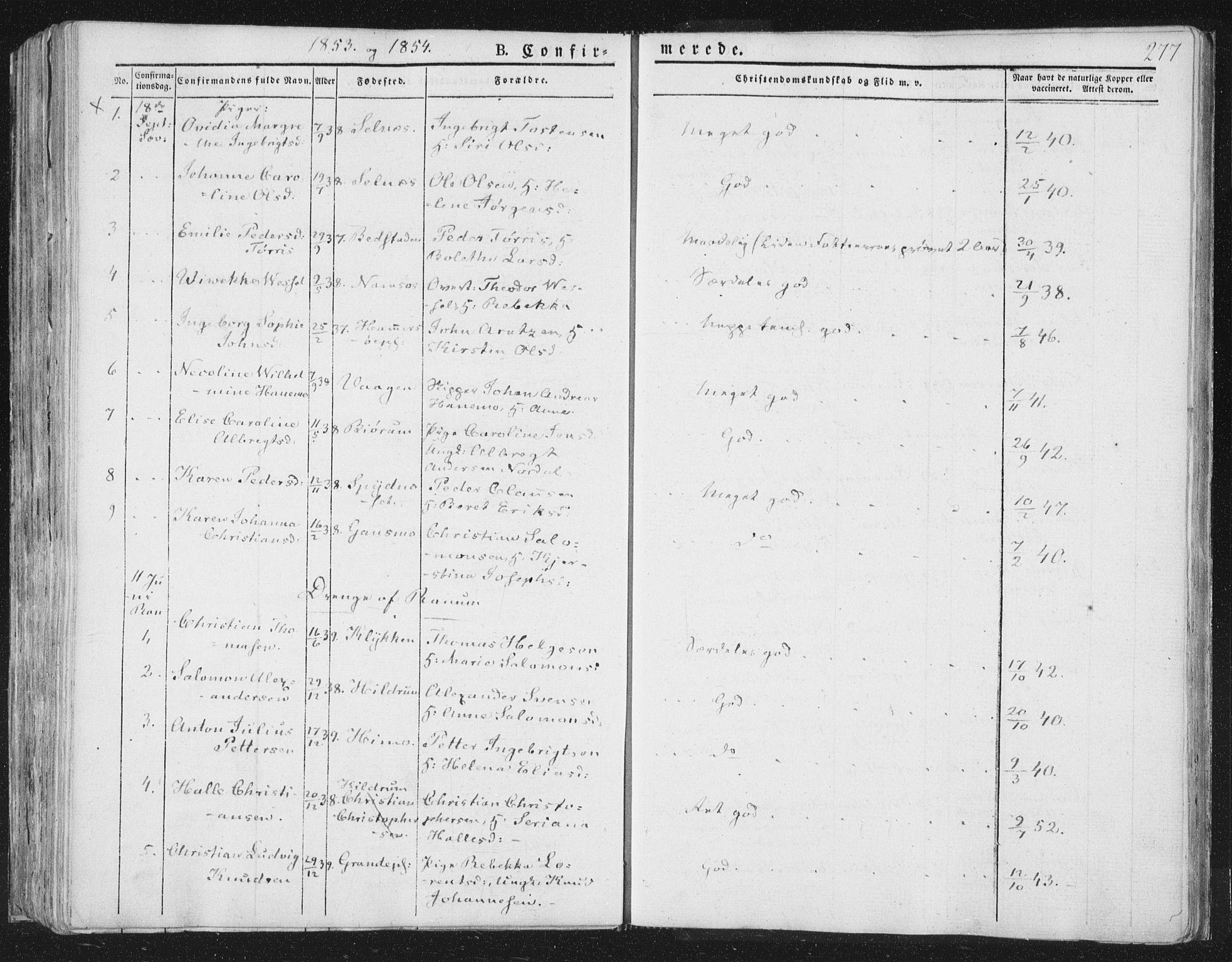 SAT, Ministerialprotokoller, klokkerbøker og fødselsregistre - Nord-Trøndelag, 764/L0551: Ministerialbok nr. 764A07a, 1824-1864, s. 277