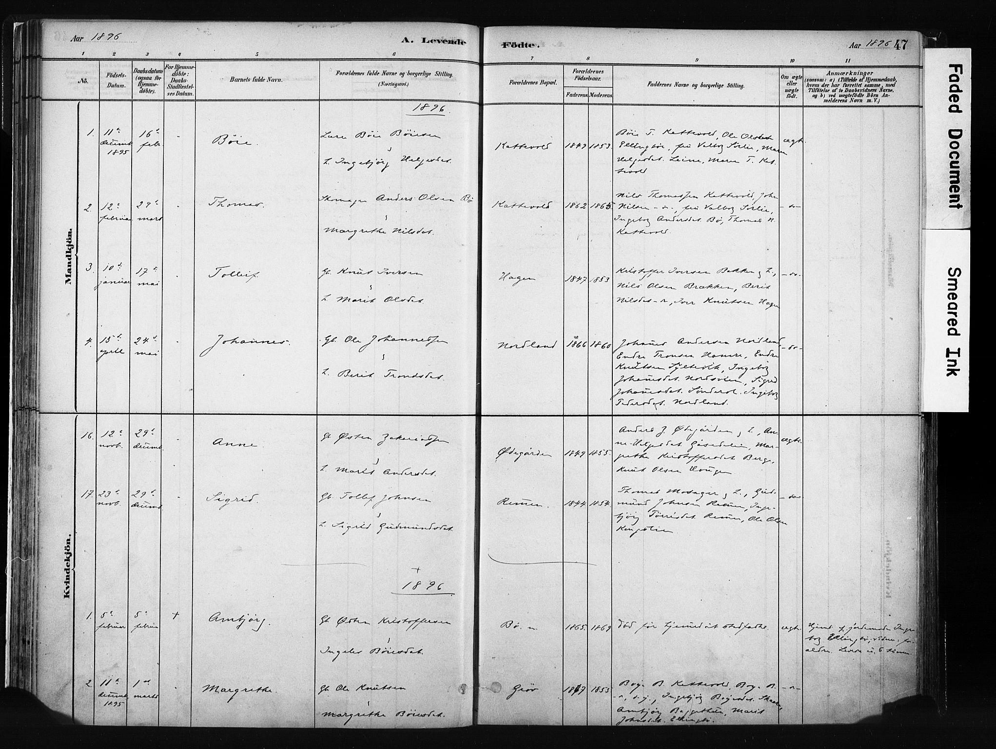 SAH, Vang prestekontor, Valdres, Ministerialbok nr. 8, 1882-1910, s. 47