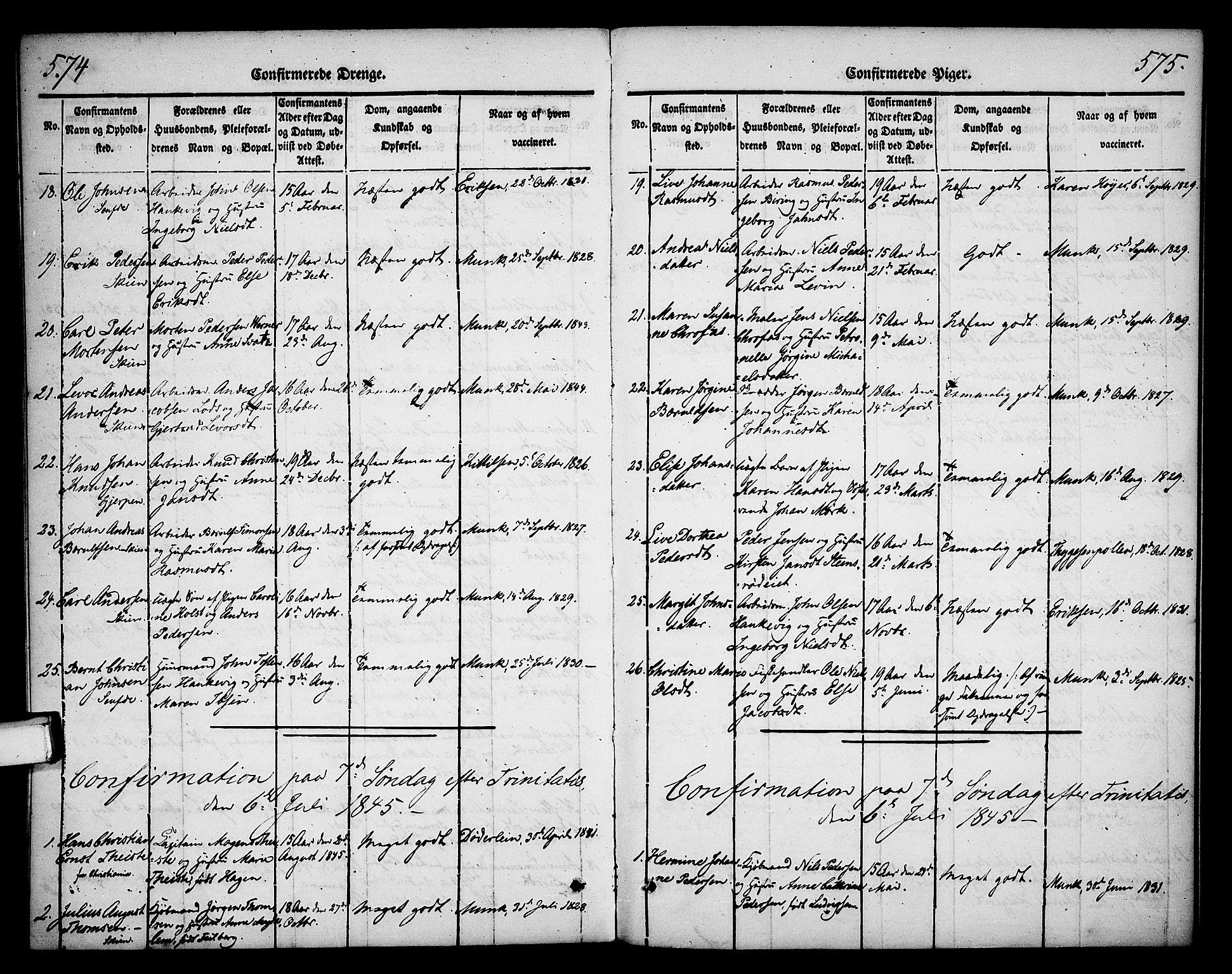 SAKO, Skien kirkebøker, F/Fa/L0006b: Ministerialbok nr. 6B, 1843-1846, s. 574-575