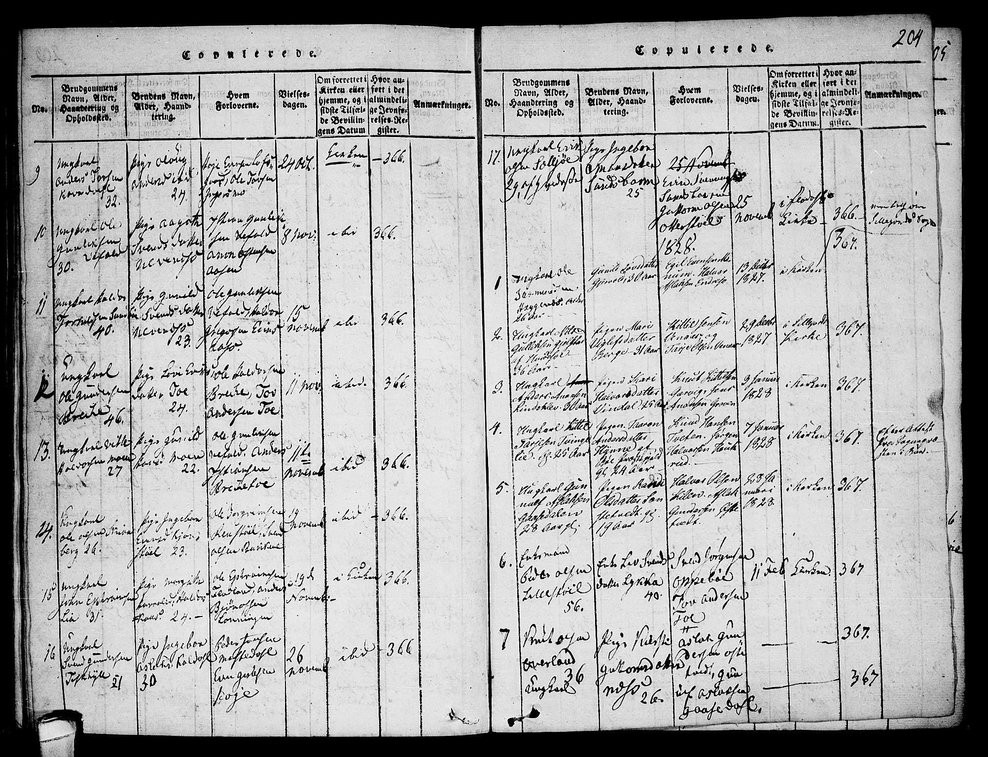SAKO, Seljord kirkebøker, F/Fa/L0010: Ministerialbok nr. I 10, 1815-1831, s. 204