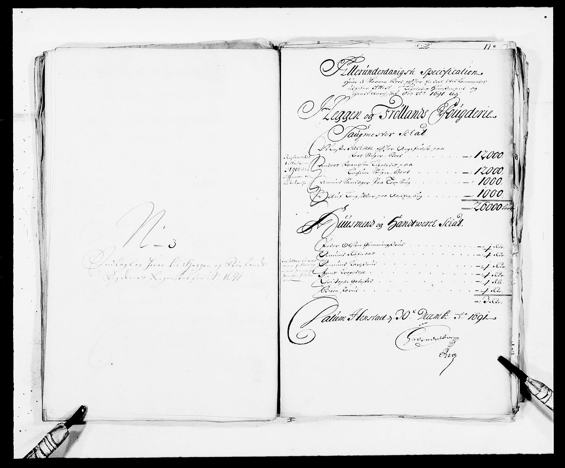RA, Rentekammeret inntil 1814, Reviderte regnskaper, Fogderegnskap, R06/L0283: Fogderegnskap Heggen og Frøland, 1691-1693, s. 66