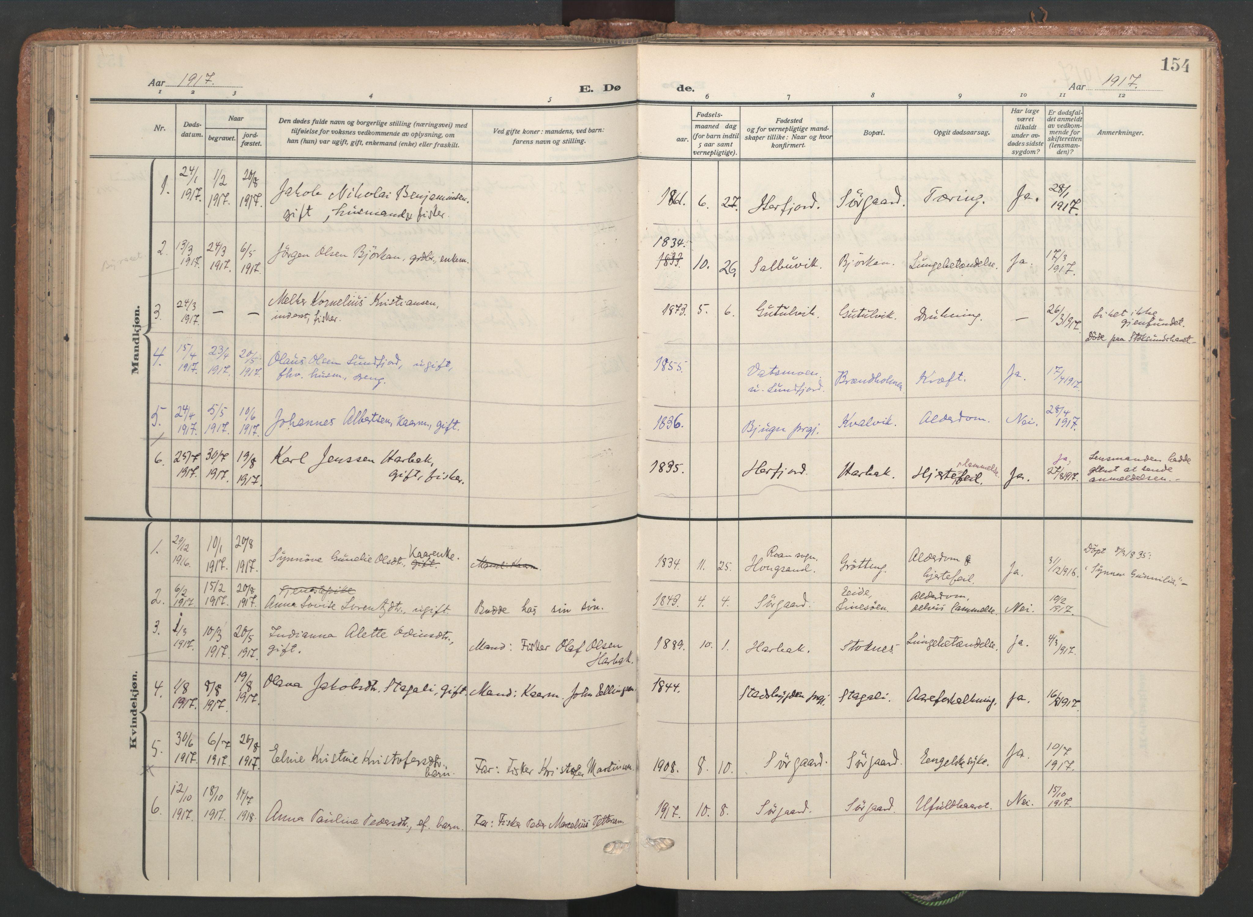 SAT, Ministerialprotokoller, klokkerbøker og fødselsregistre - Sør-Trøndelag, 656/L0694: Ministerialbok nr. 656A03, 1914-1931, s. 154