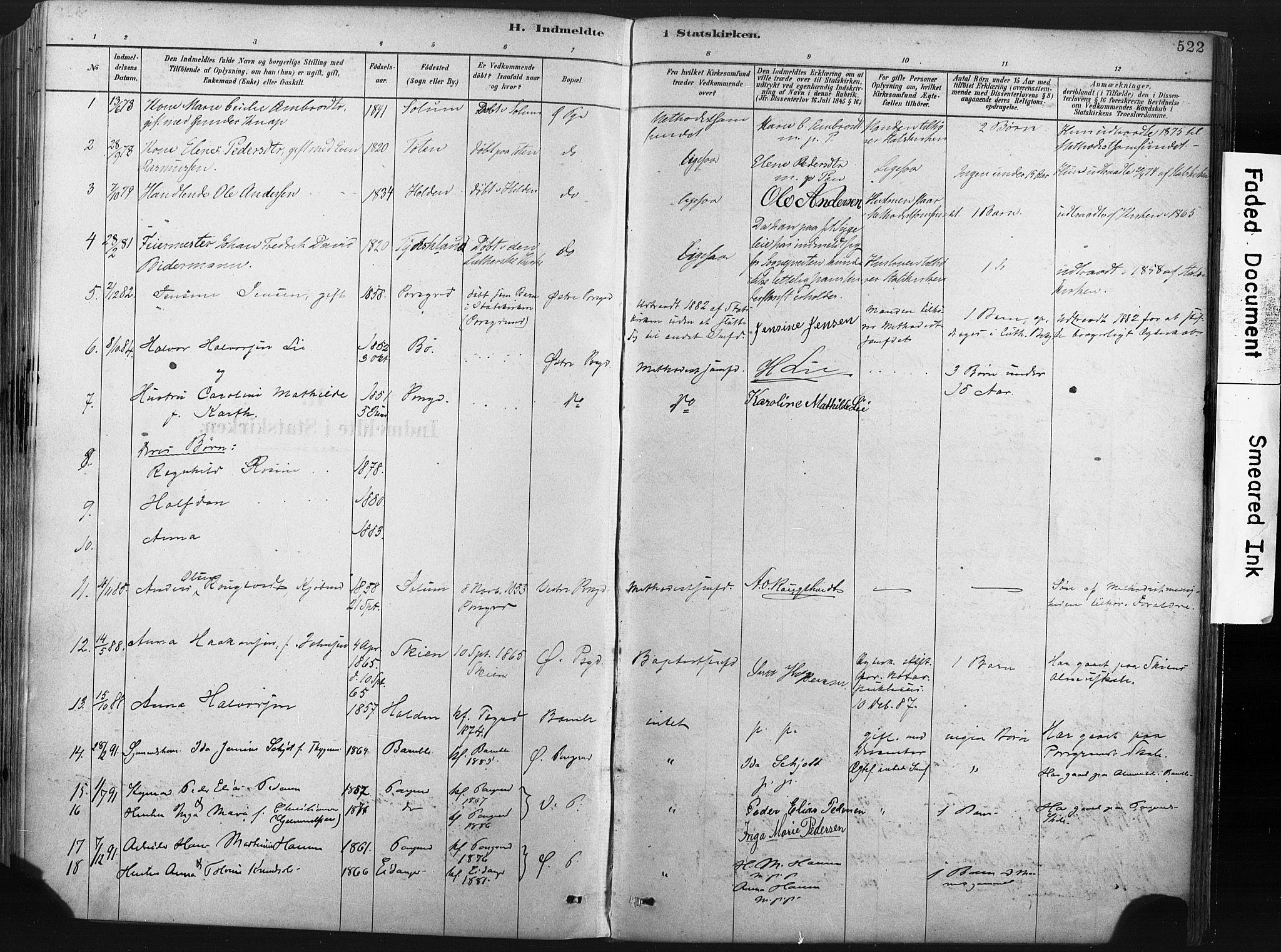 SAKO, Porsgrunn kirkebøker , F/Fa/L0008: Ministerialbok nr. 8, 1878-1895, s. 522