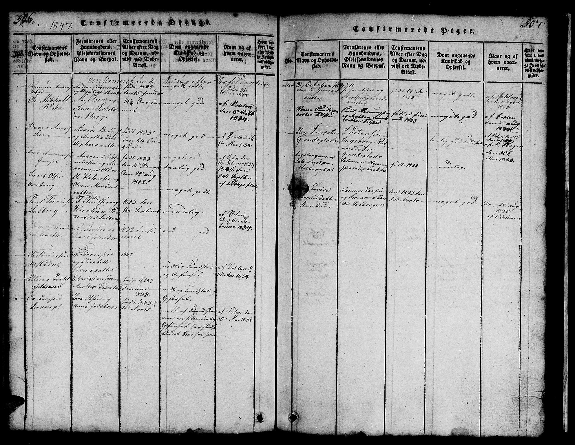 SAT, Ministerialprotokoller, klokkerbøker og fødselsregistre - Nord-Trøndelag, 731/L0310: Klokkerbok nr. 731C01, 1816-1874, s. 506-507