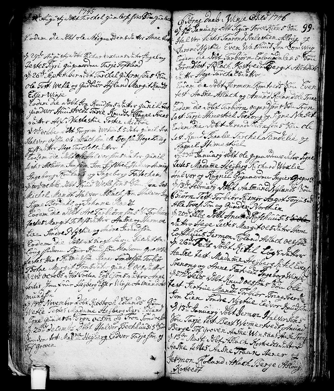 SAKO, Vinje kirkebøker, F/Fa/L0001: Ministerialbok nr. I 1, 1717-1766, s. 99