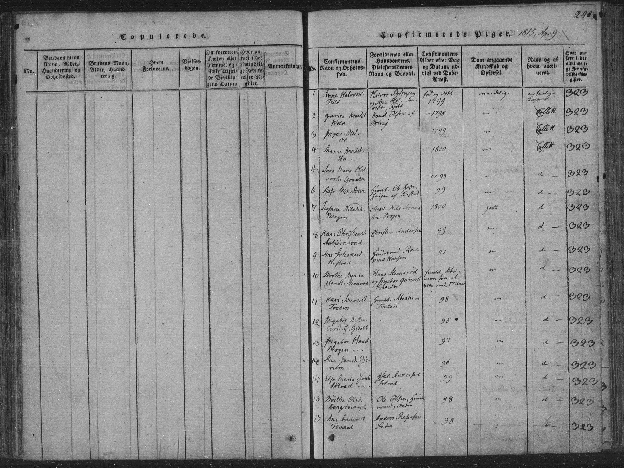 SAKO, Solum kirkebøker, F/Fa/L0004: Ministerialbok nr. I 4, 1814-1833, s. 240