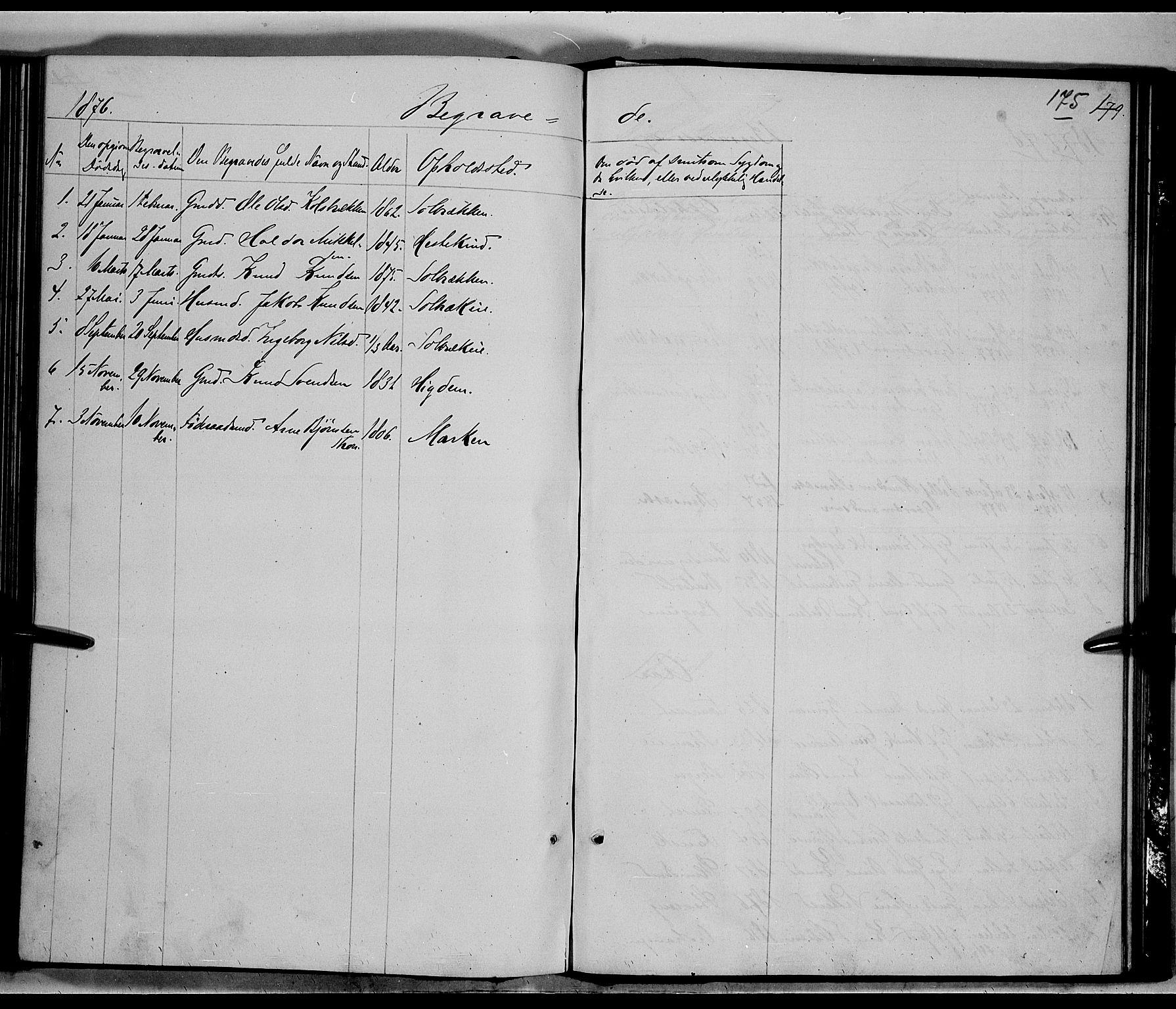 SAH, Nord-Aurdal prestekontor, Klokkerbok nr. 5, 1876-1895, s. 175