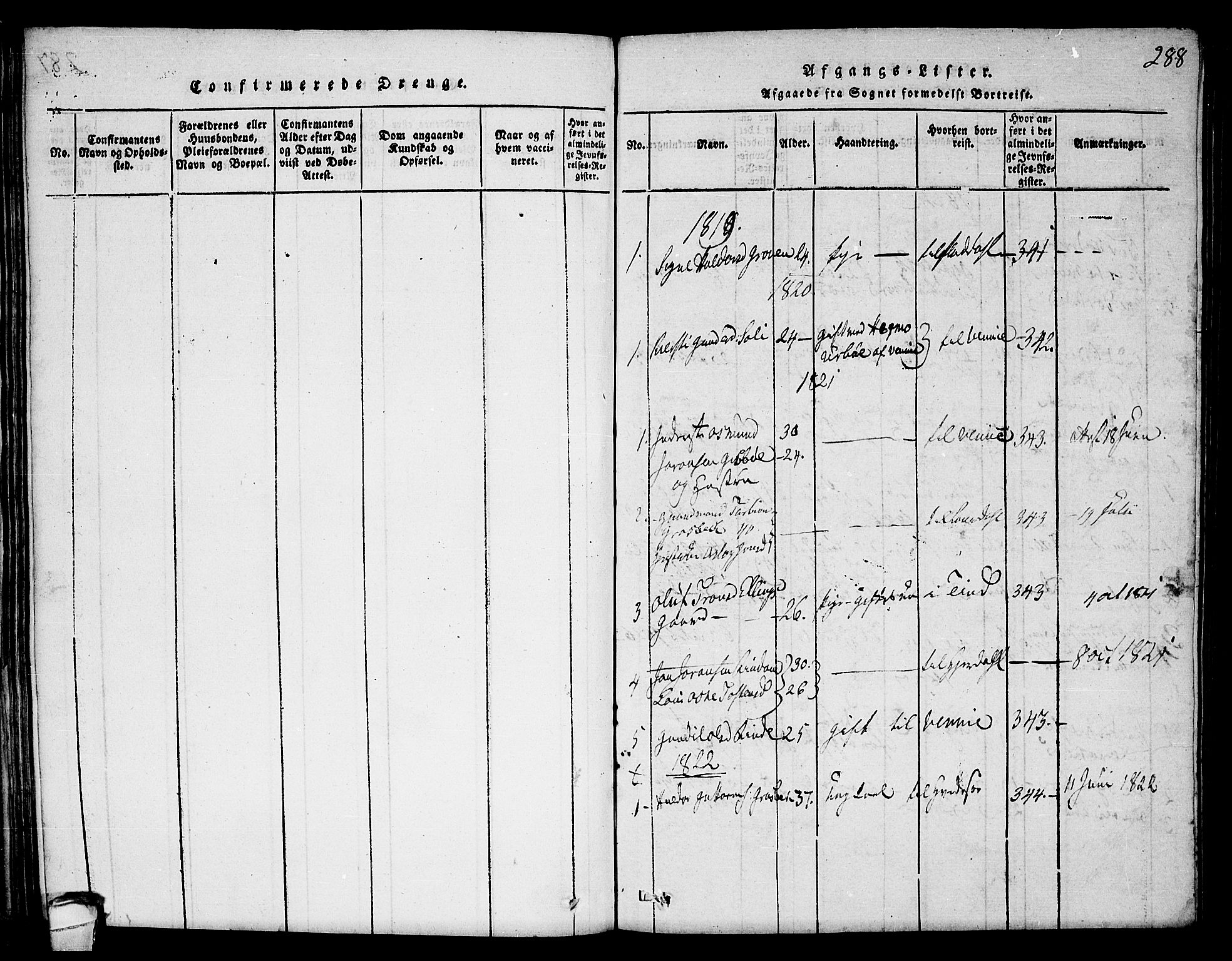 SAKO, Seljord kirkebøker, F/Fc/L0001: Ministerialbok nr. III 1, 1815-1831, s. 288