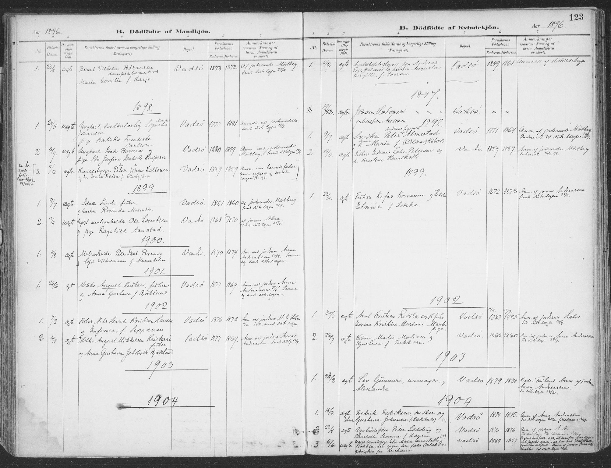 SATØ, Vadsø sokneprestkontor, H/Ha/L0007kirke: Ministerialbok nr. 7, 1896-1916, s. 123