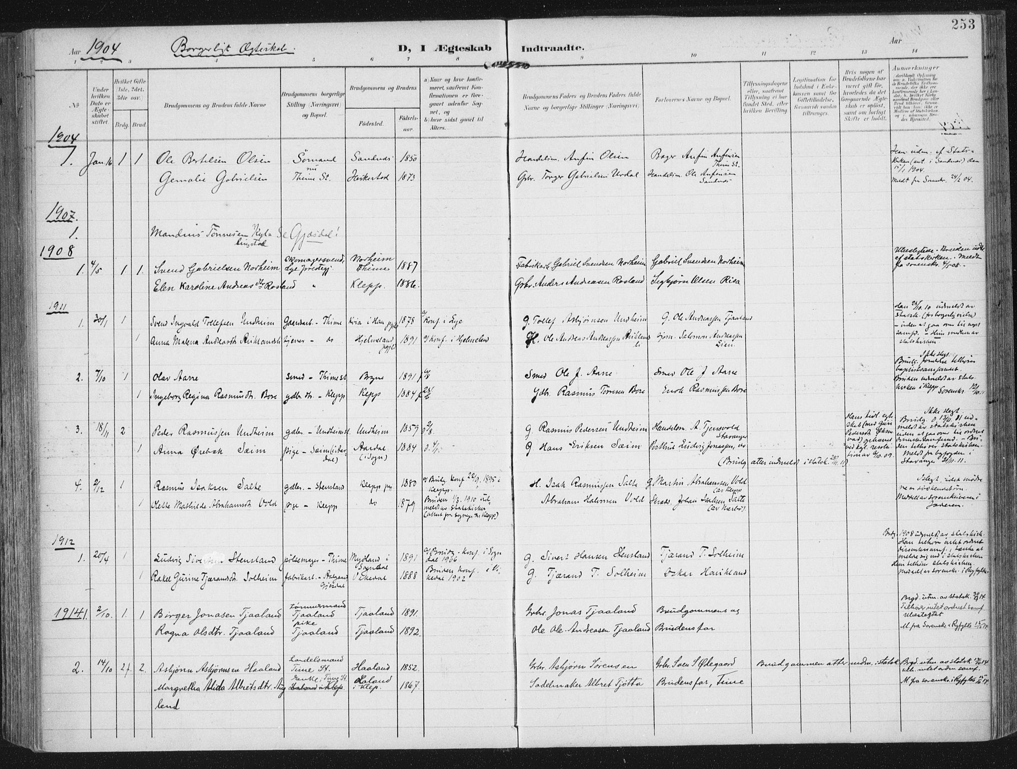 SAST, Lye sokneprestkontor, A/L0001: Ministerialbok nr. A 12, 1904-1920, s. 253