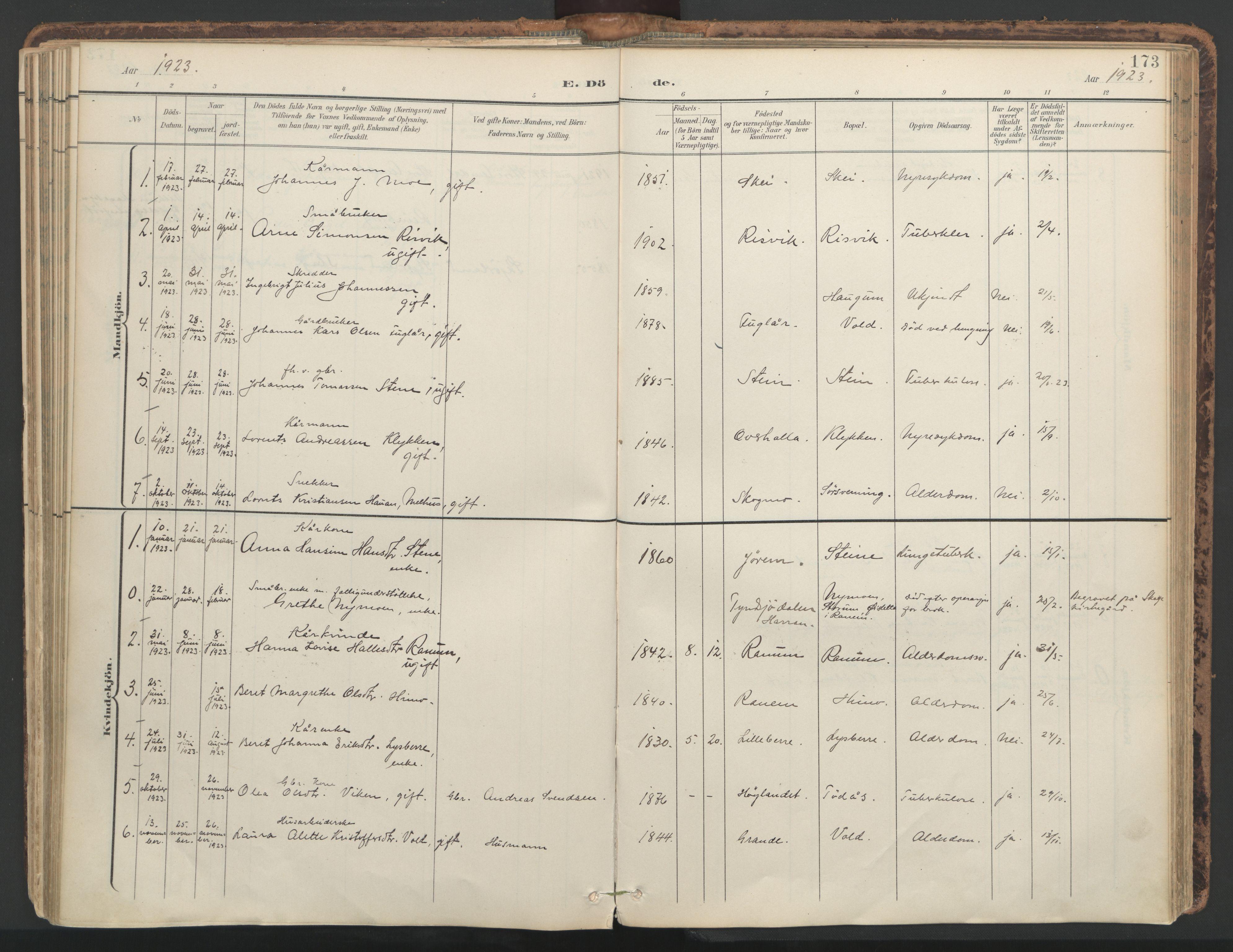SAT, Ministerialprotokoller, klokkerbøker og fødselsregistre - Nord-Trøndelag, 764/L0556: Ministerialbok nr. 764A11, 1897-1924, s. 173