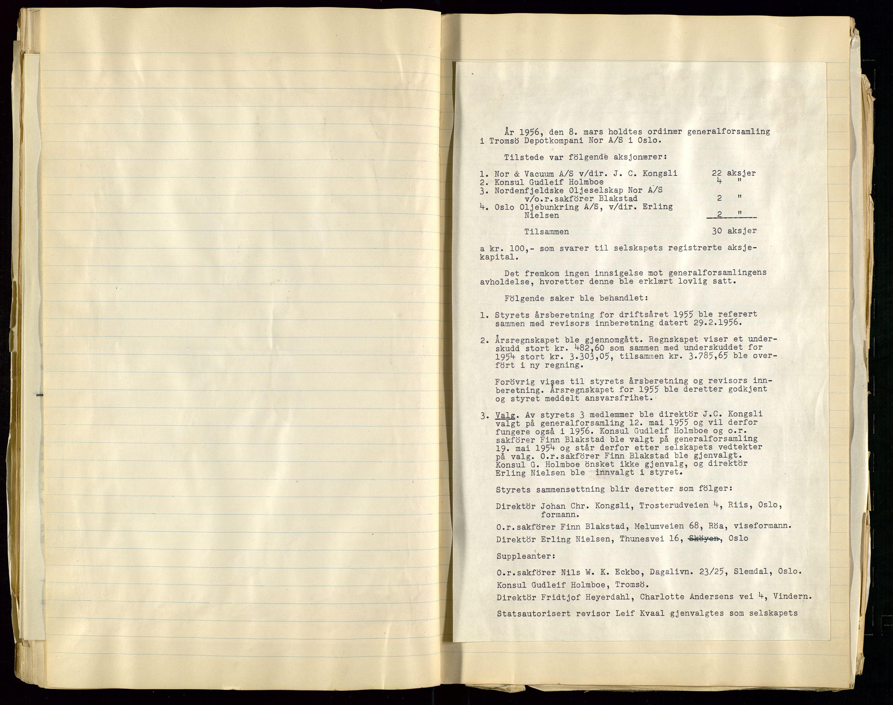 SAST, Pa 1518 - Tromsø Depotkompani NOR A/S, A/L0001: Styreprotokoll, 1939-1959, s. 51