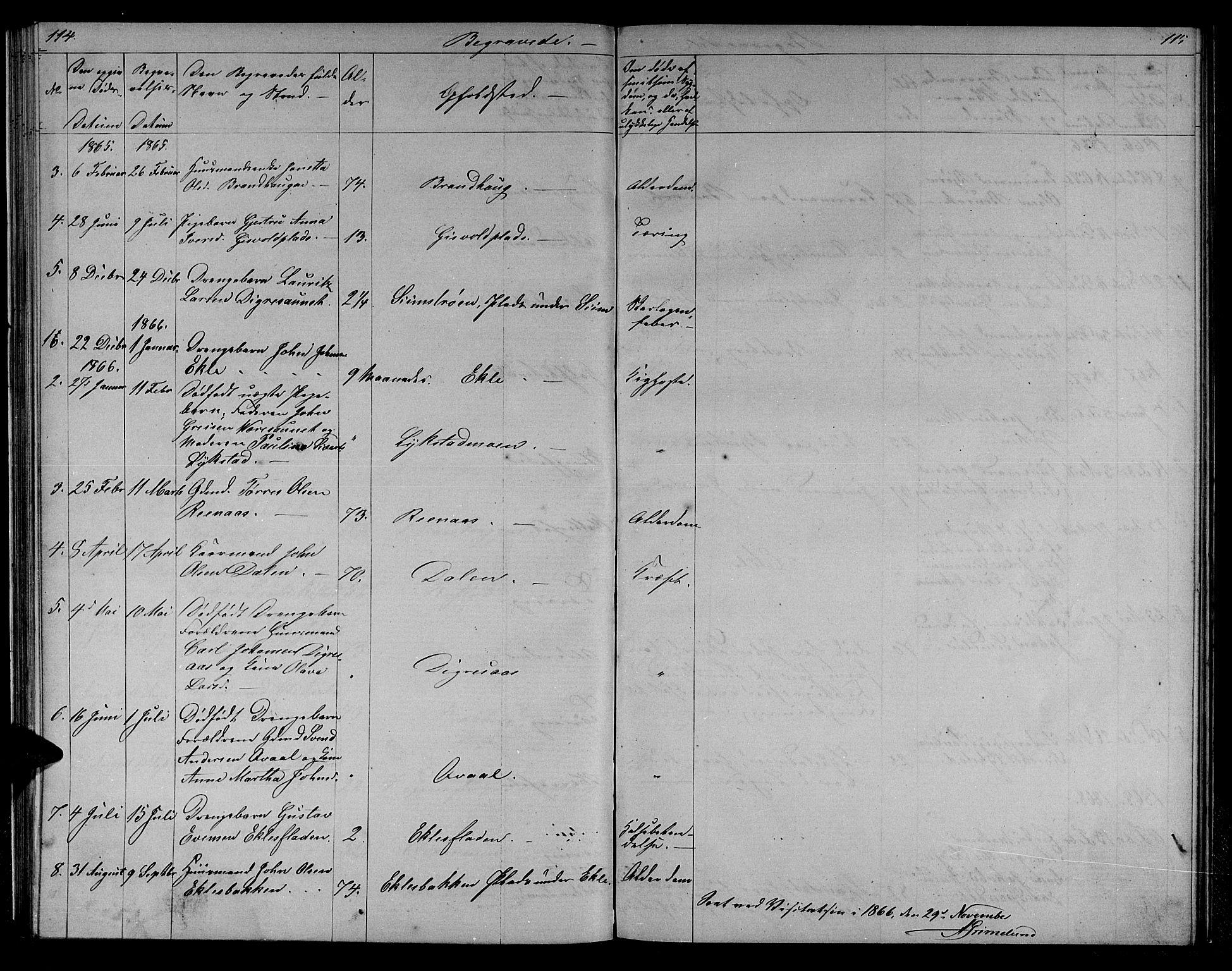 SAT, Ministerialprotokoller, klokkerbøker og fødselsregistre - Sør-Trøndelag, 608/L0340: Klokkerbok nr. 608C06, 1864-1889, s. 114-115