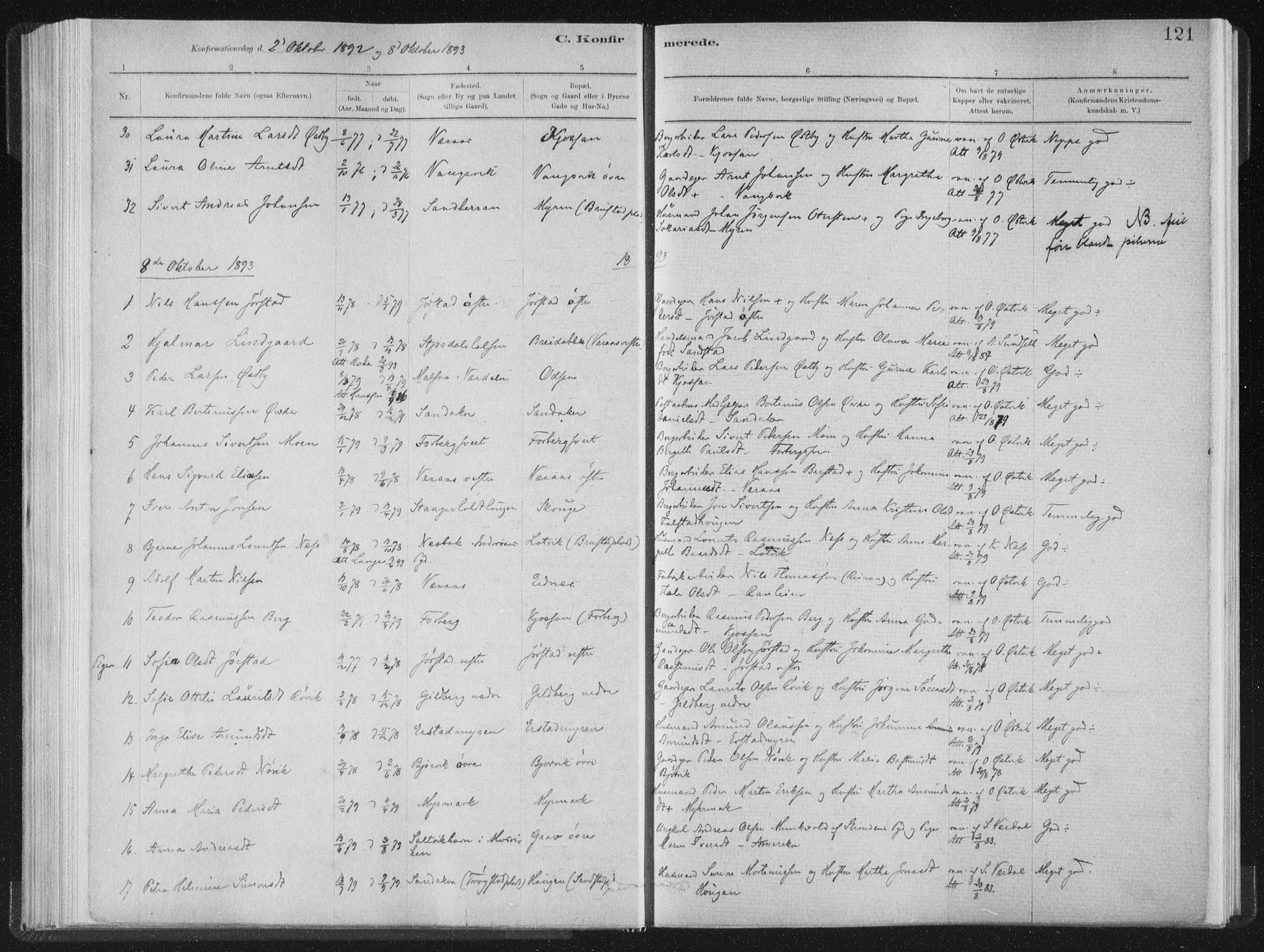 SAT, Ministerialprotokoller, klokkerbøker og fødselsregistre - Nord-Trøndelag, 722/L0220: Ministerialbok nr. 722A07, 1881-1908, s. 121