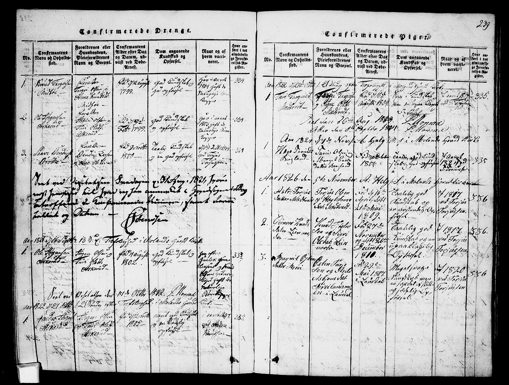 SAKO, Fyresdal kirkebøker, G/Ga/L0002: Klokkerbok nr. I 2, 1815-1857, s. 239