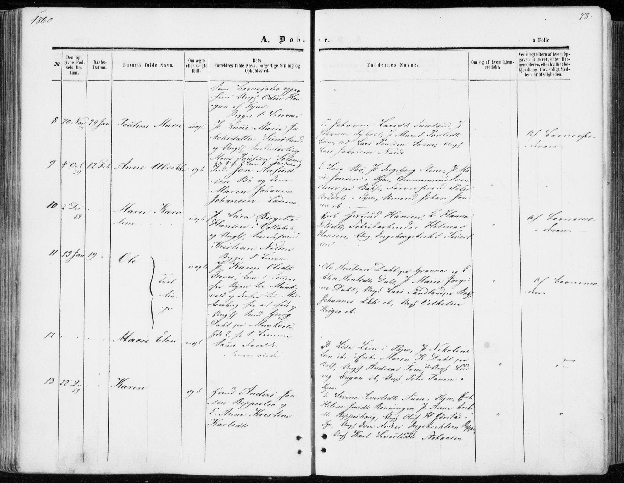 SAT, Ministerialprotokoller, klokkerbøker og fødselsregistre - Sør-Trøndelag, 606/L0292: Ministerialbok nr. 606A07, 1856-1865, s. 78