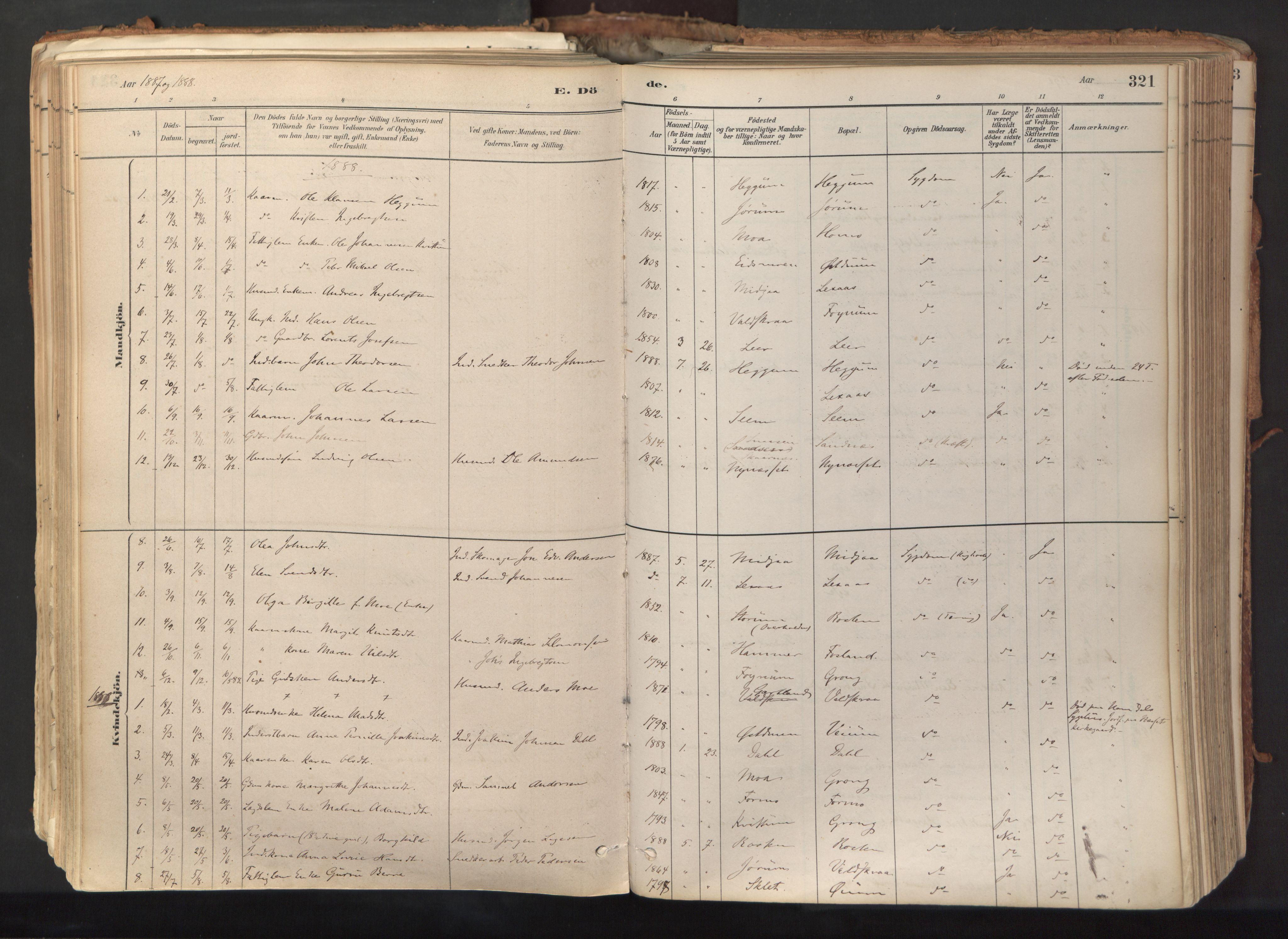 SAT, Ministerialprotokoller, klokkerbøker og fødselsregistre - Nord-Trøndelag, 758/L0519: Ministerialbok nr. 758A04, 1880-1926, s. 321