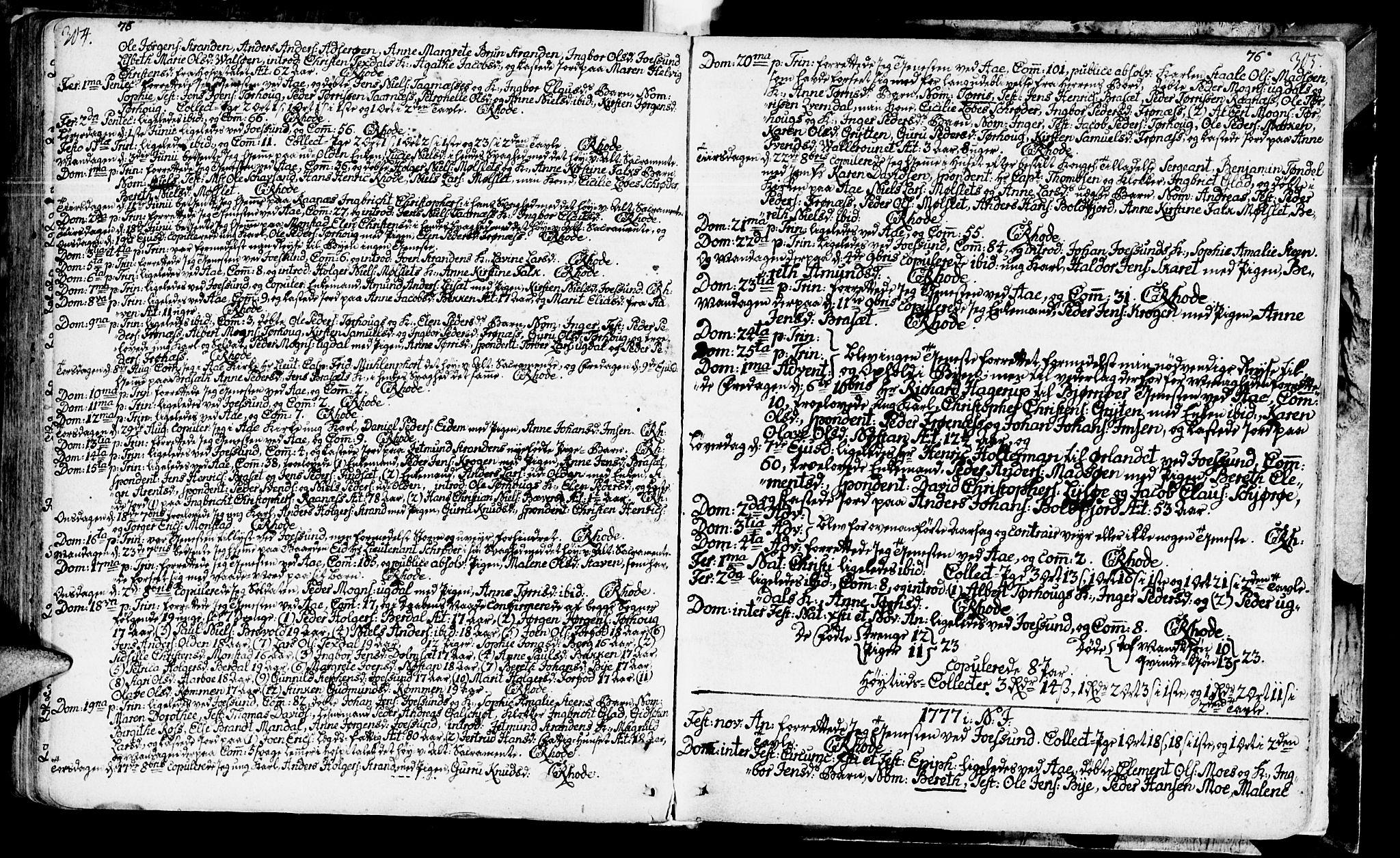SAT, Ministerialprotokoller, klokkerbøker og fødselsregistre - Sør-Trøndelag, 655/L0672: Ministerialbok nr. 655A01, 1750-1779, s. 304-305